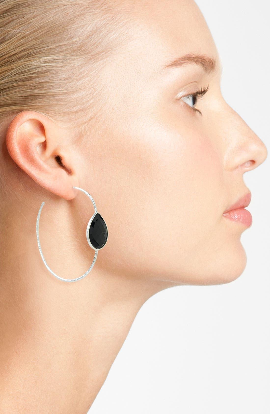 Alternate Image 2  - NuNu Designs Teardrop Stone Hoop Earrings (Nordstrom Exclusive)
