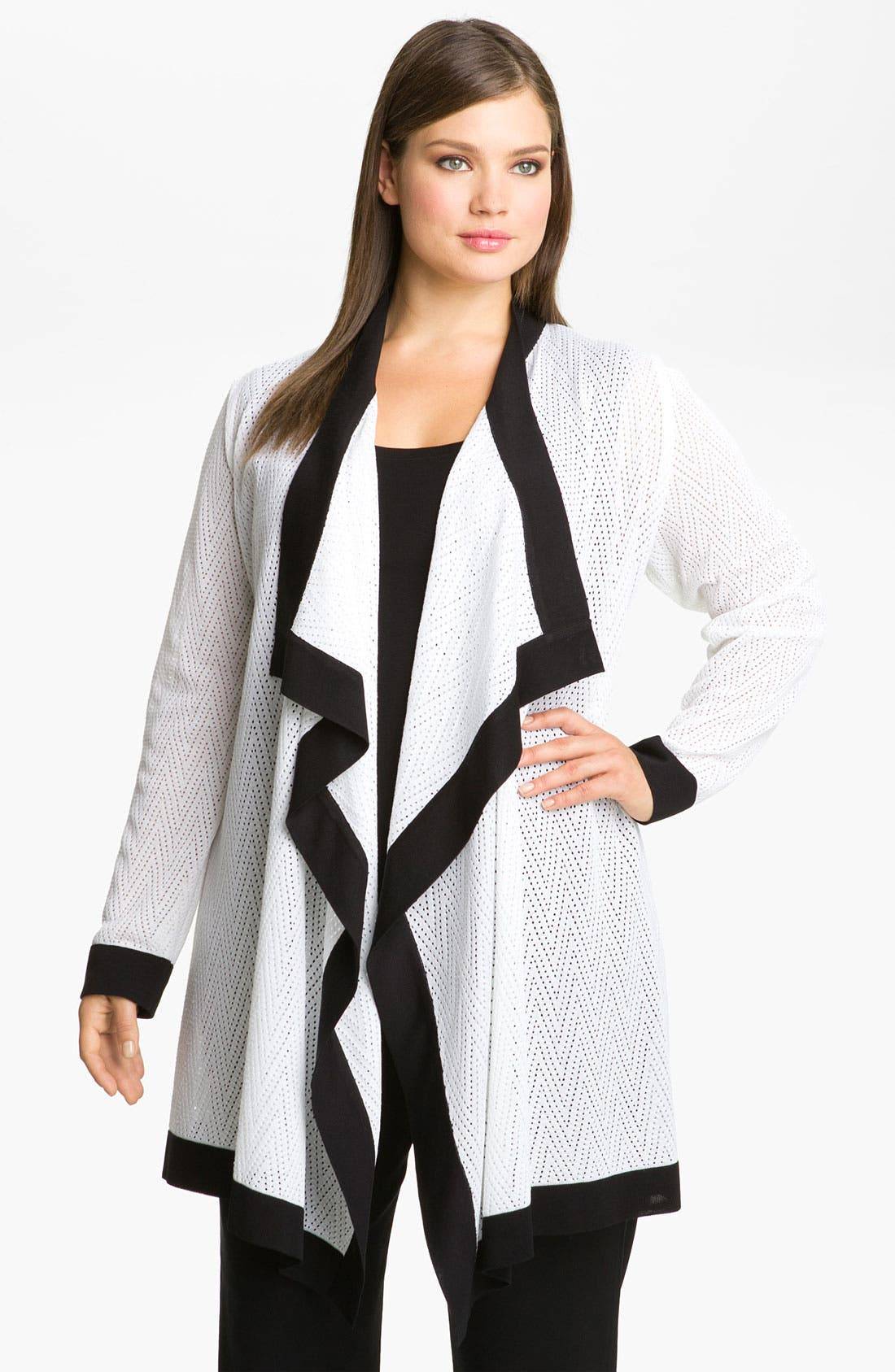 Alternate Image 1 Selected - Exclusively Misook Zigzag Pattern Cardigan (Plus)