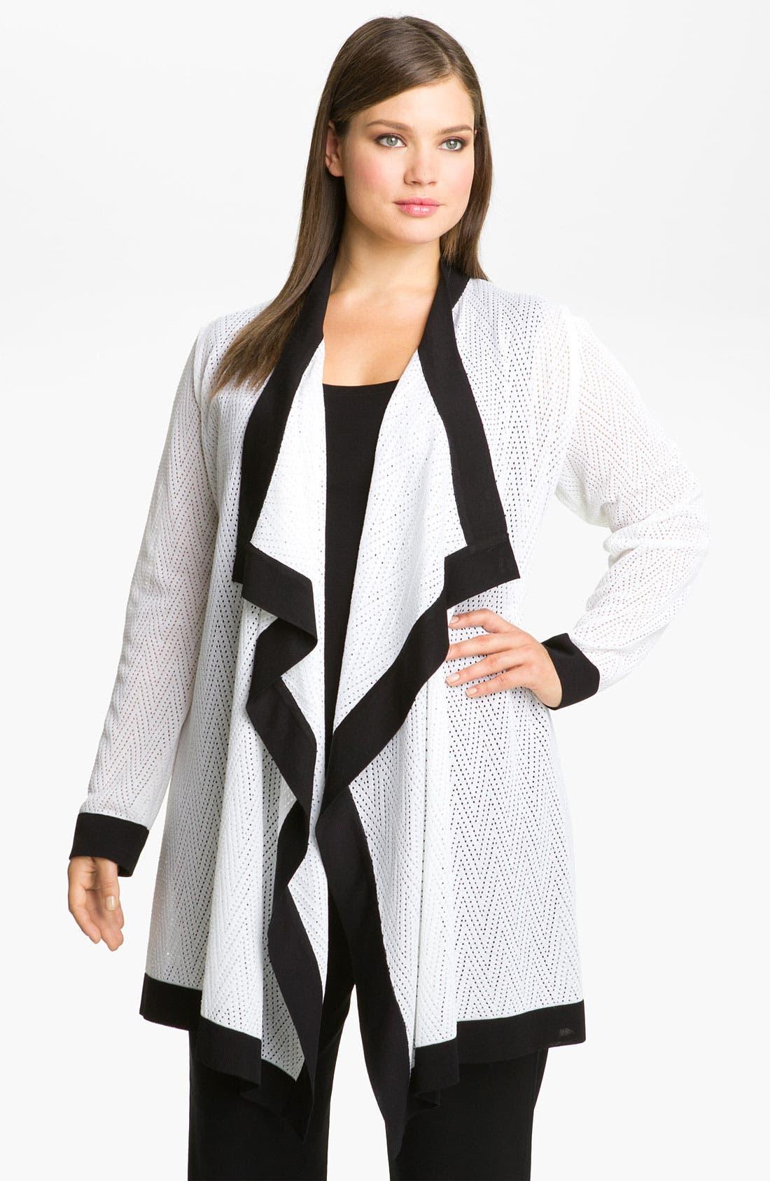 Main Image - Exclusively Misook Zigzag Pattern Cardigan (Plus)