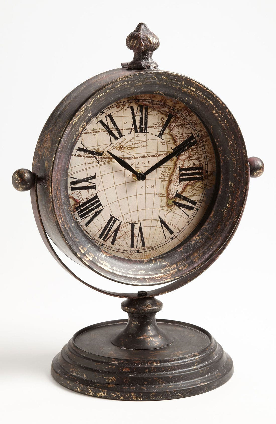 Main Image - Antiqued Metal Pedestal Clock