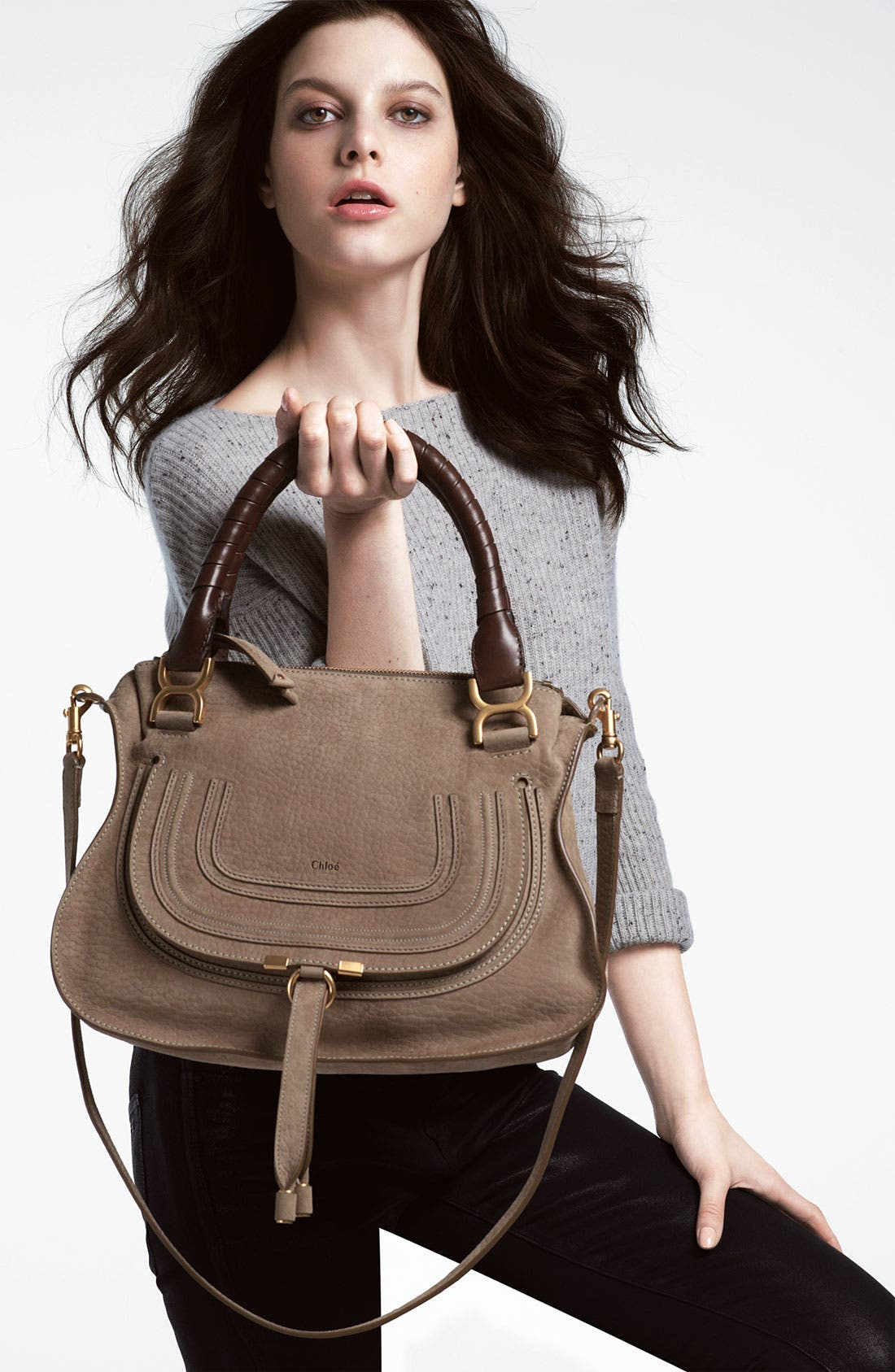 'Marcie -Small' Nubuck Leather Shoulder Bag,                             Alternate thumbnail 5, color,