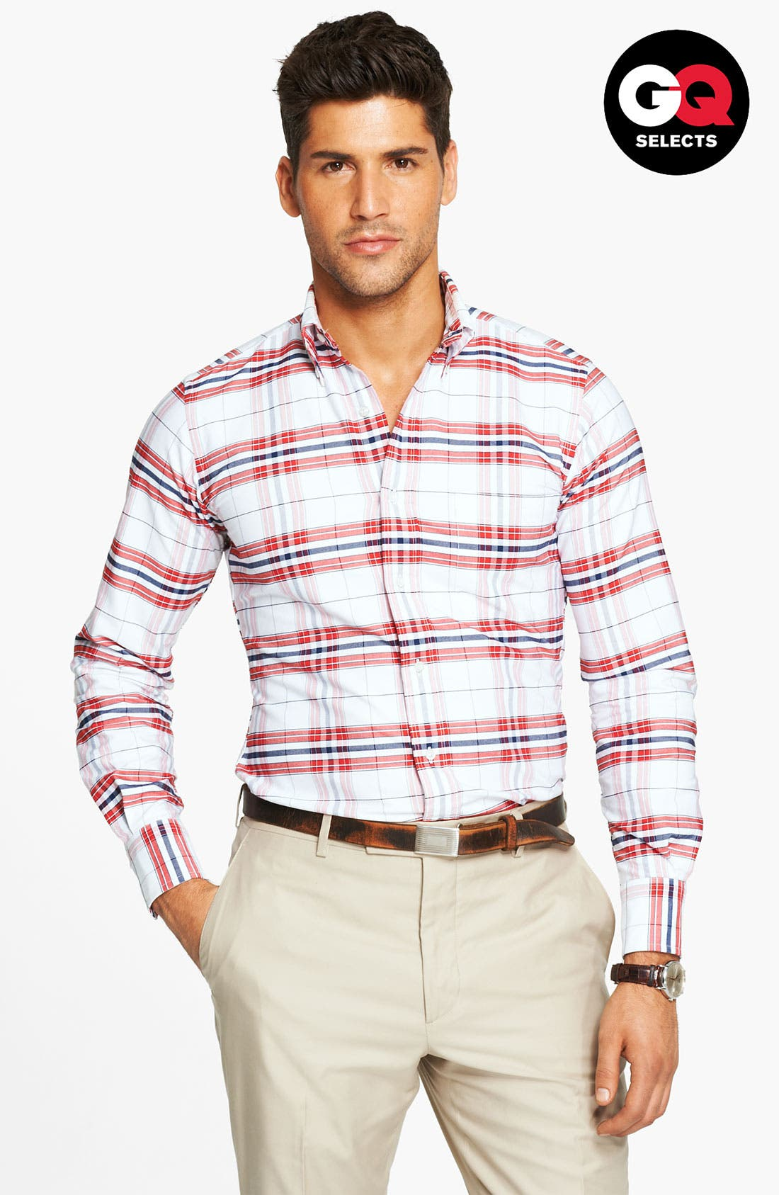 Plaid Oxford Shirt,                             Main thumbnail 1, color,                             White/ Red/ Blue Plaid