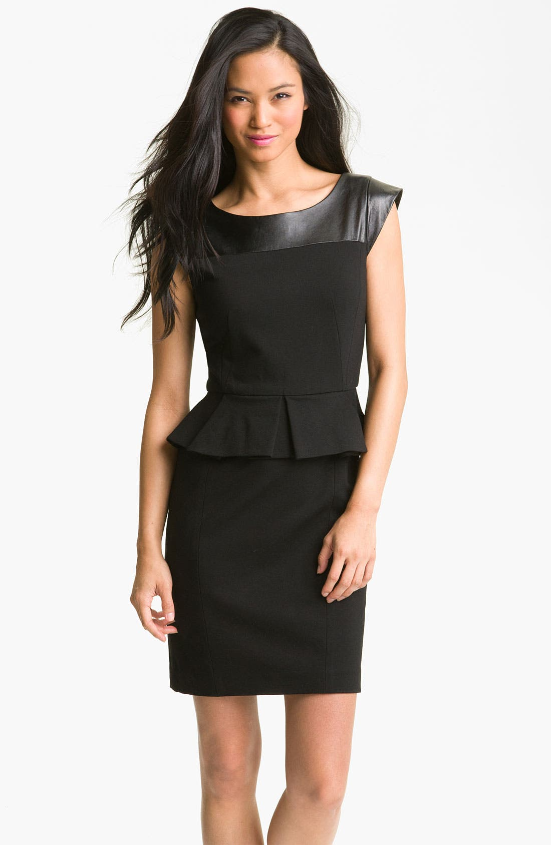 Alternate Image 1 Selected - Cynthia Steffe 'Dylan' Leather Yoke Peplum Sheath Dress (Online Exclusive)