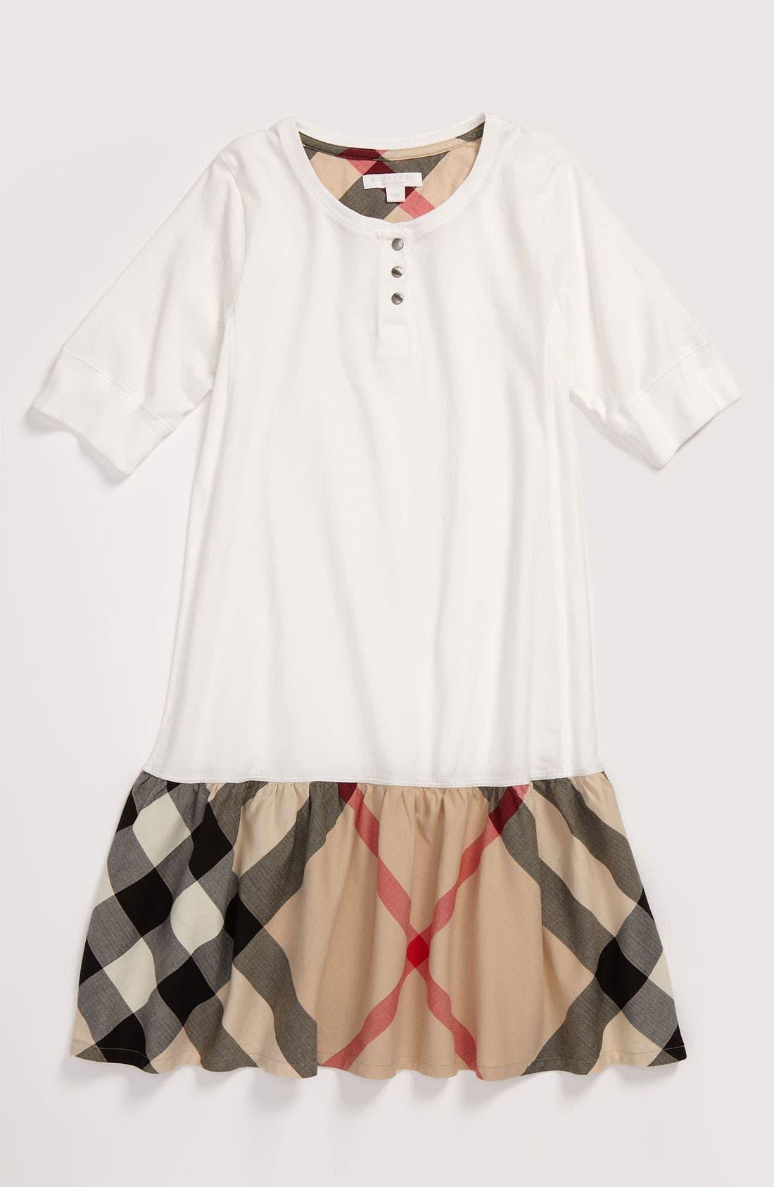 Alternate Image 1 Selected - Burberry Drop Waist Jersey Dress (Little Girls & Big Girls)