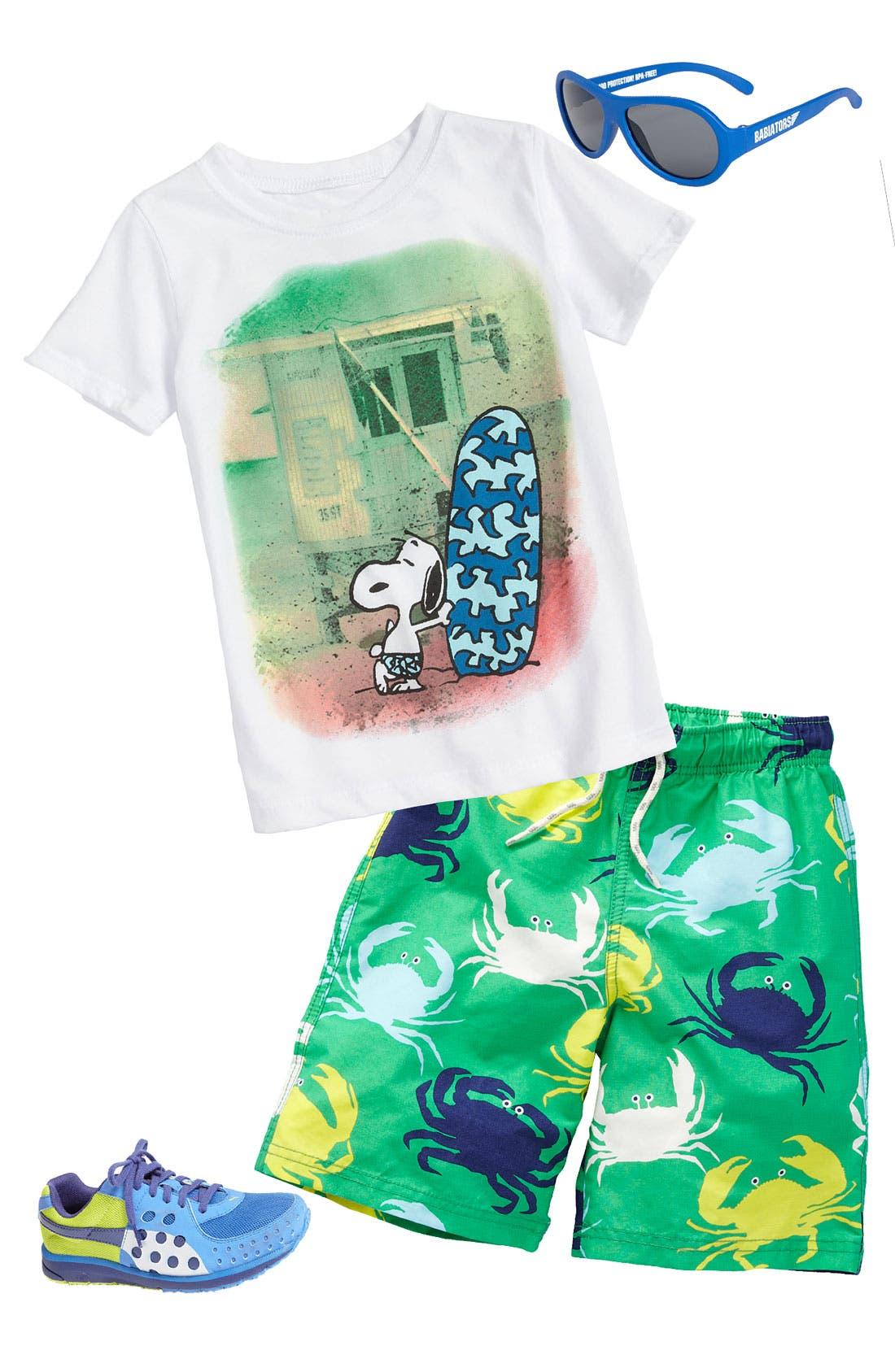 Main Image - Mighty Fine T-Shirt & Mini Boden Swim Shorts (Toddler)