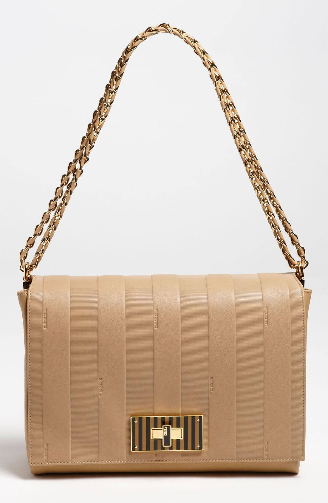 Alternate Image 1 Selected - Fendi 'Paris Pequin - Large' Leather Shoulder Bag