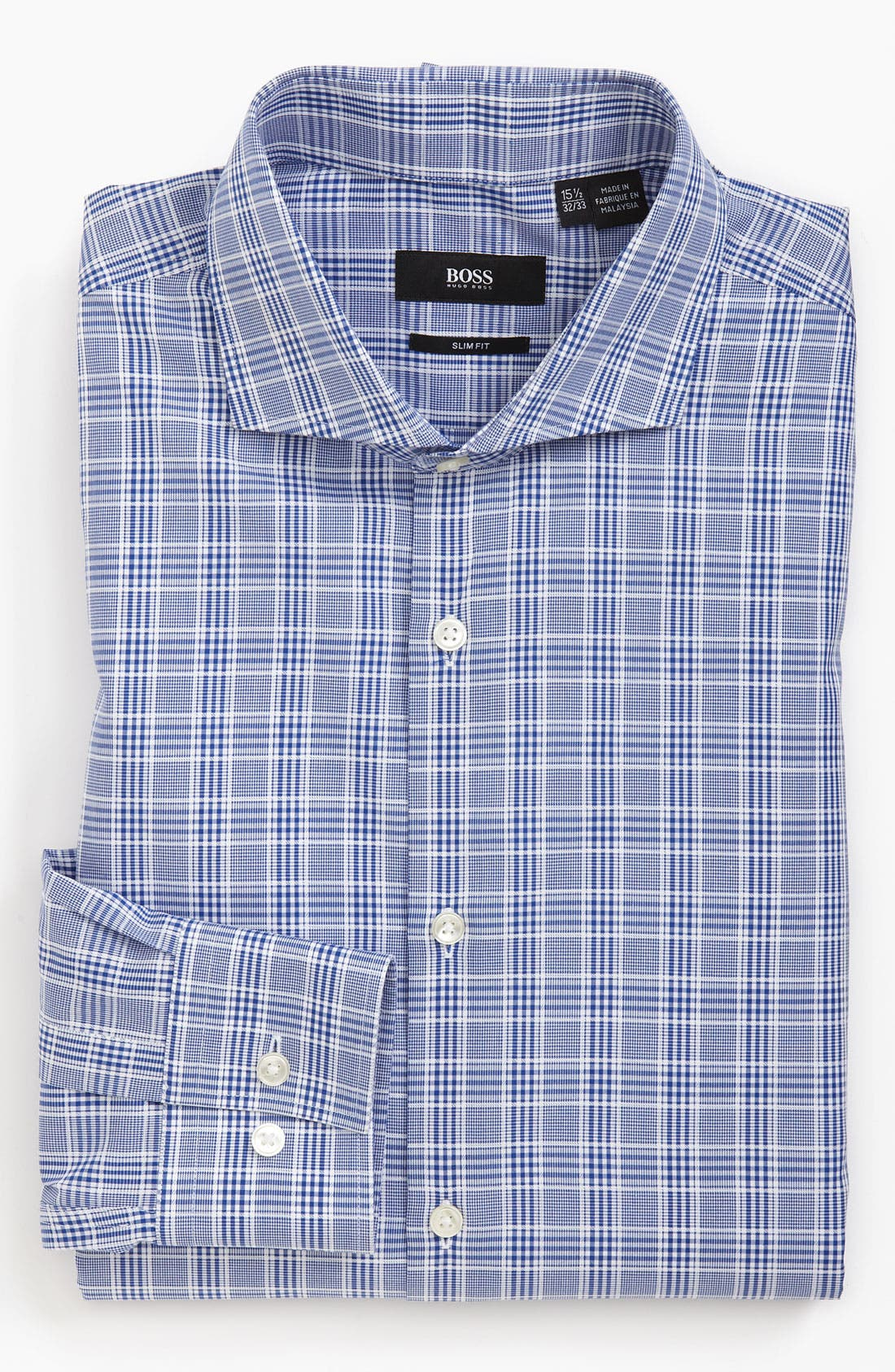 Black Slim Fit Dress Shirt,                         Main,                         color, Blue Plaid