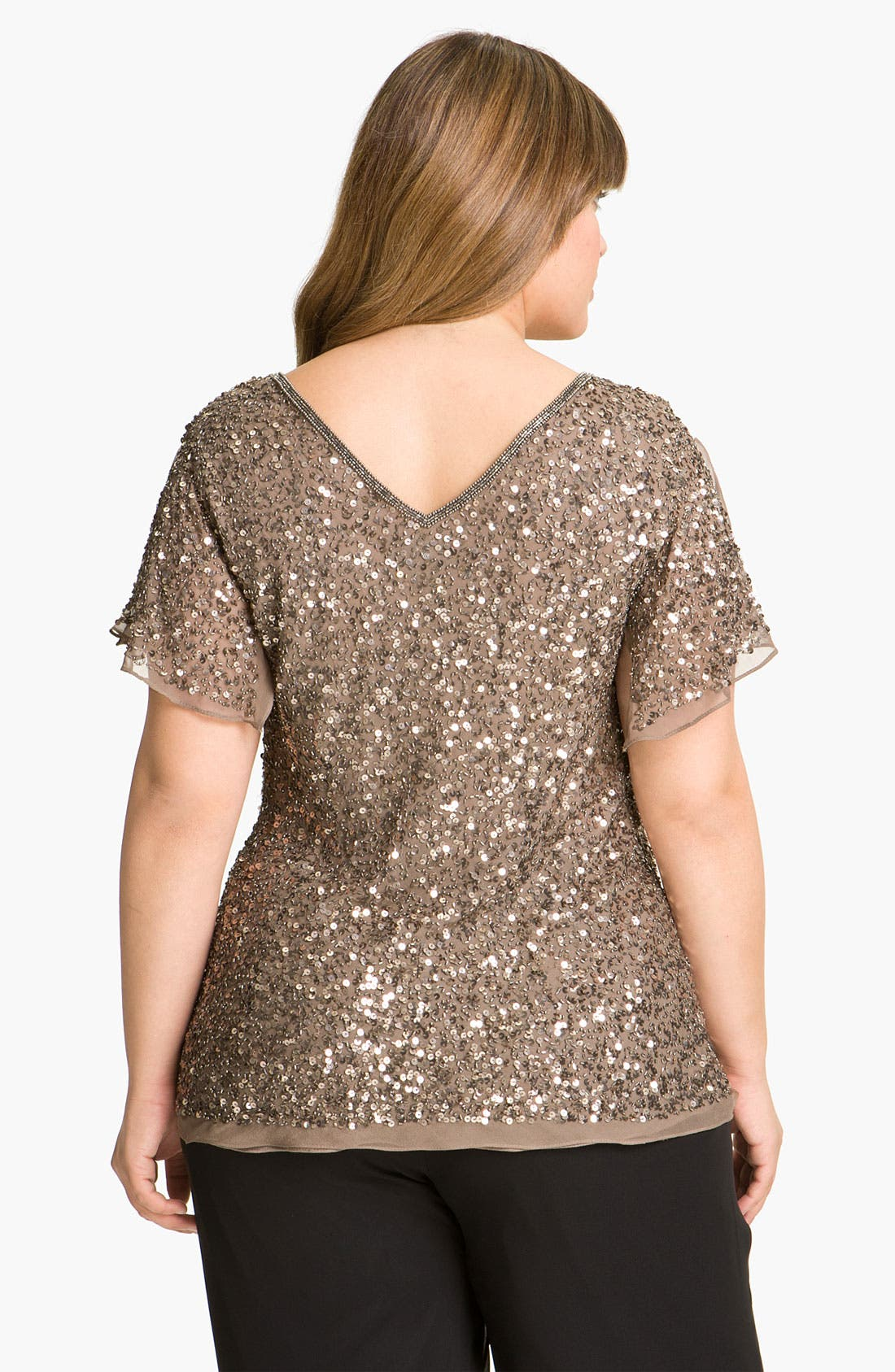 Alternate Image 2  - Adrianna Papell Sequin Chiffon Top (Plus Size)
