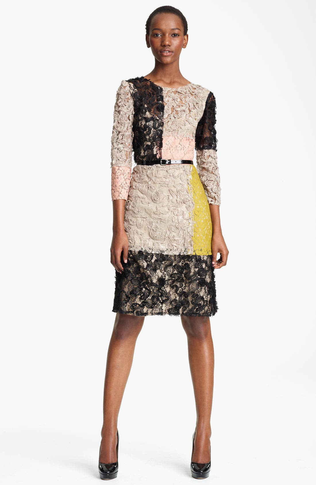 Main Image - Moschino Cheap & Chic Belted Colorblock Lace Dress