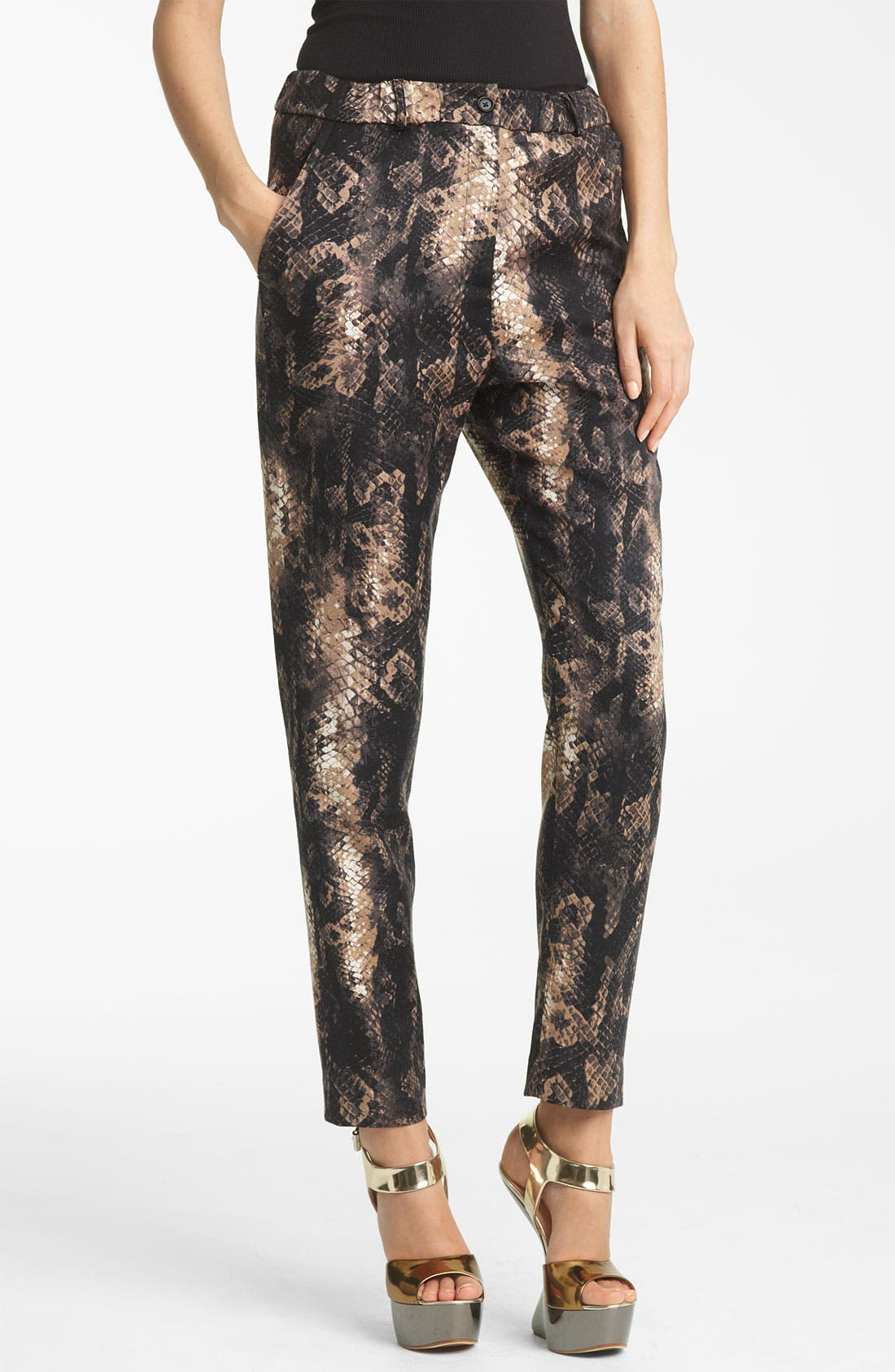Main Image - Yigal Azrouël Python Print Stretch Wool Pants