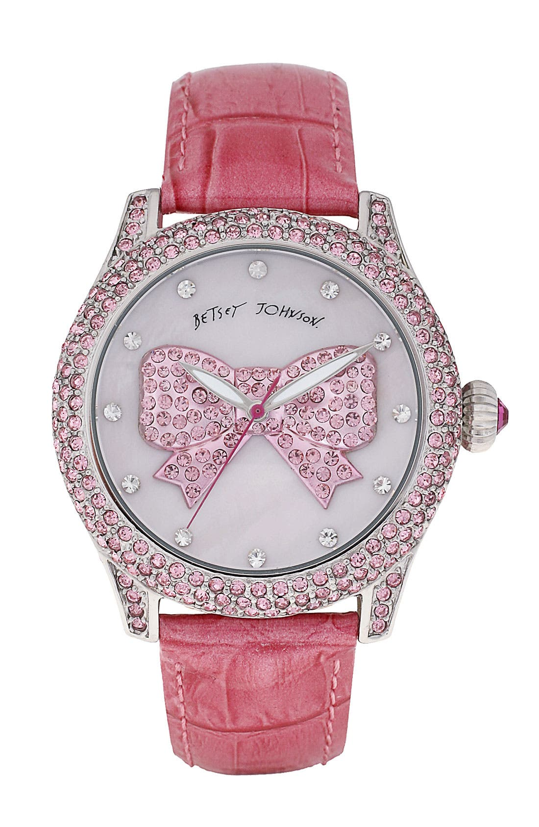 Main Image - Betsey Johnson Graphic Dial Leather Strap Watch