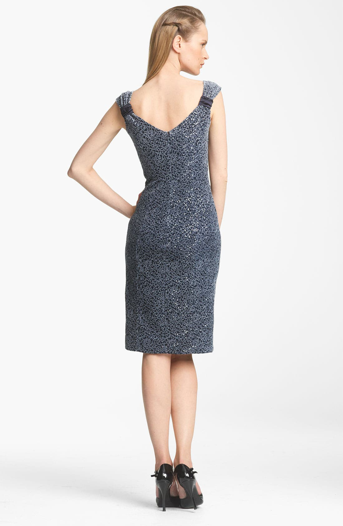 Alternate Image 2  - Armani Collezioni Paillette Velvet & Jersey Dress