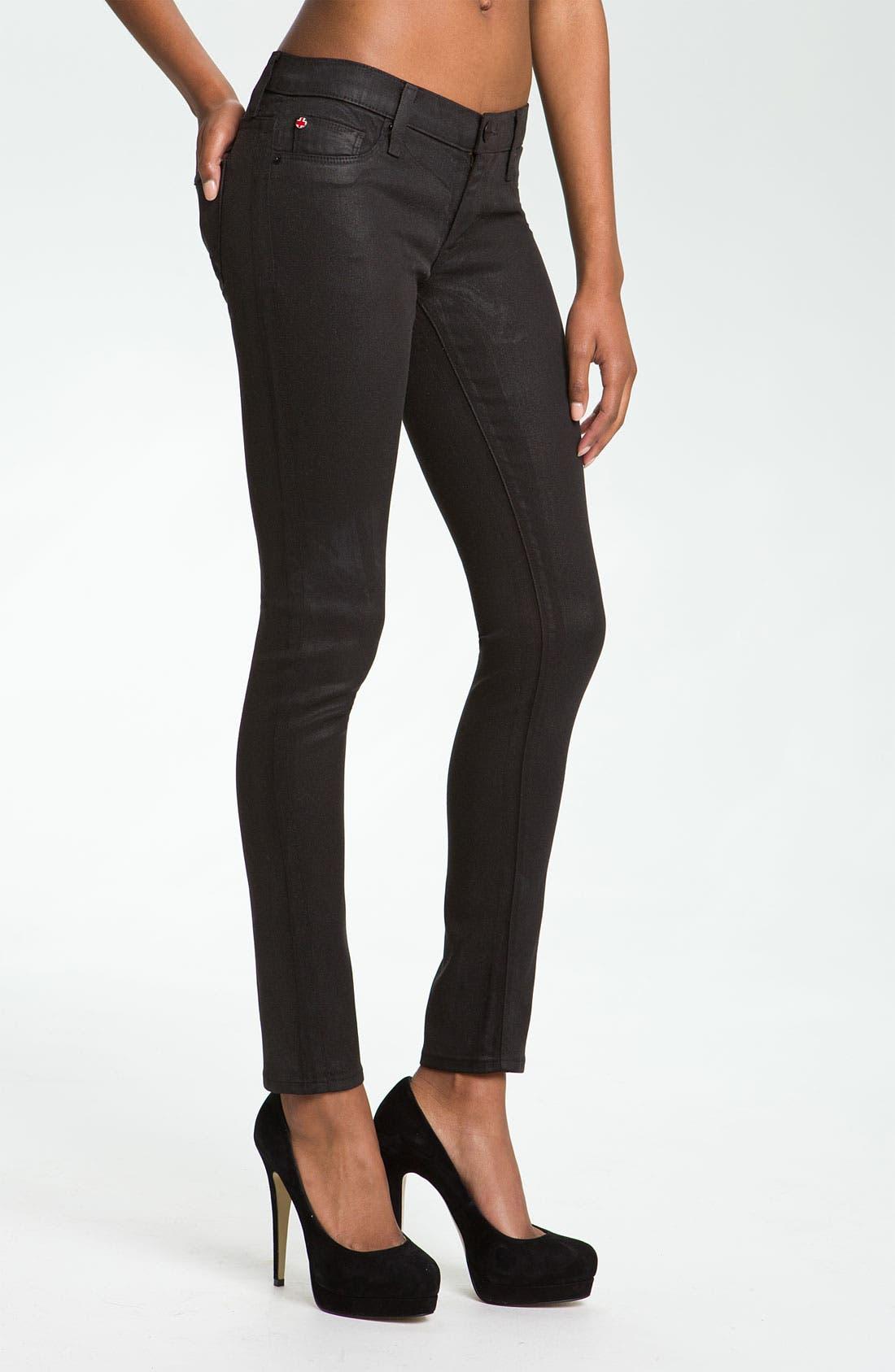 Main Image - Hudson Jeans 'Krista' Super Skinny Jeans (Black Wax)