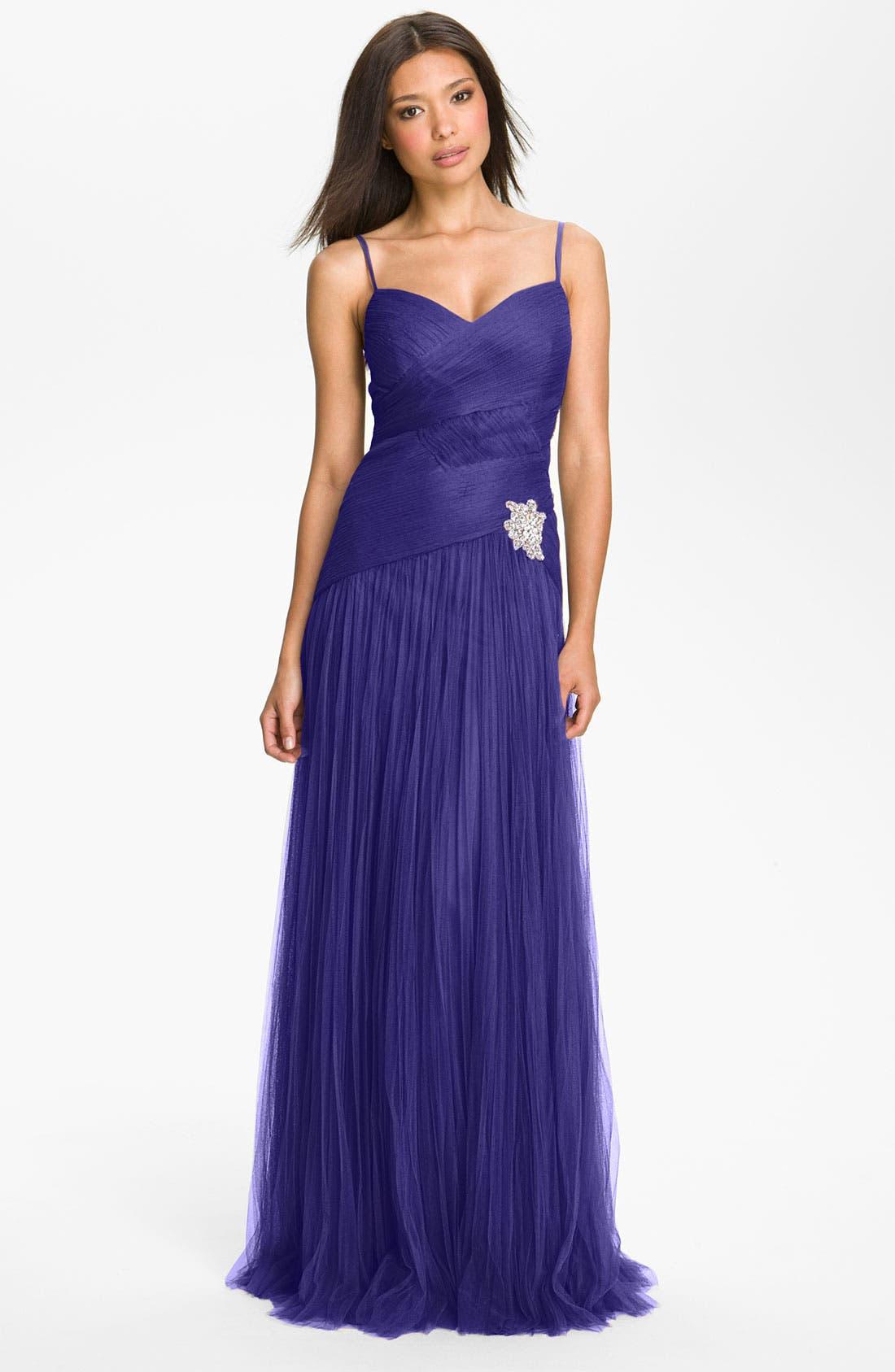 Main Image - Veni Infantino Textured Drop Waist Tulle Gown & Shrug