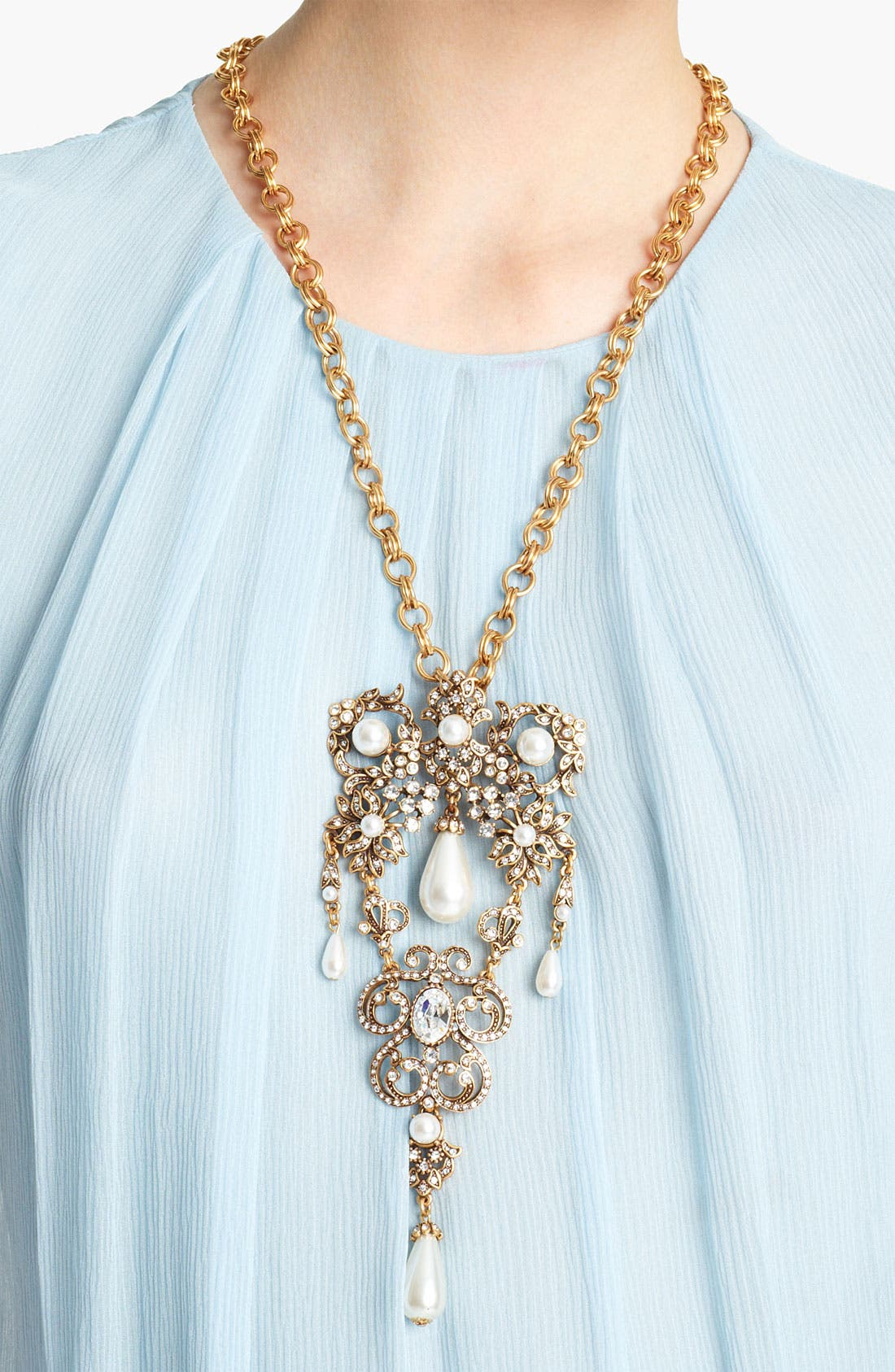Alternate Image 2  - Oscar de la Renta 'Baroque' Jeweled Brooch Necklace