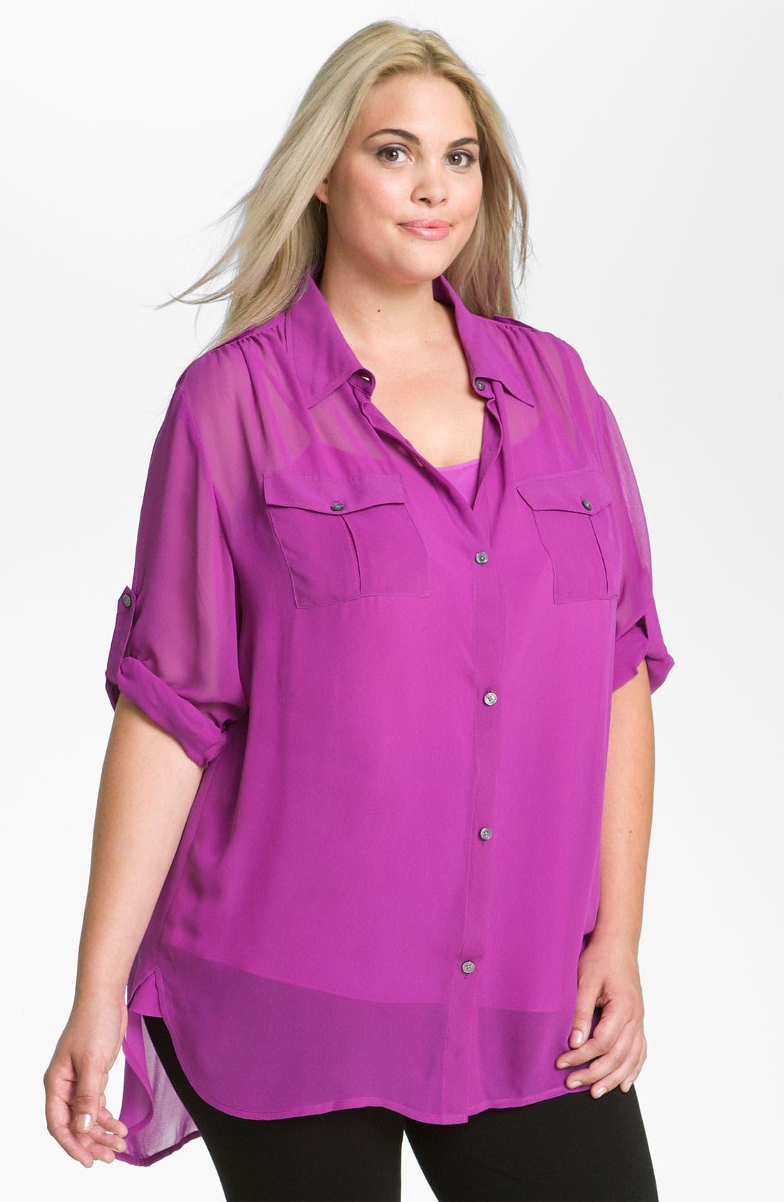 Alternate Image 1 Selected - DKNYC Sheer Big Shirt & Camisole (Plus)