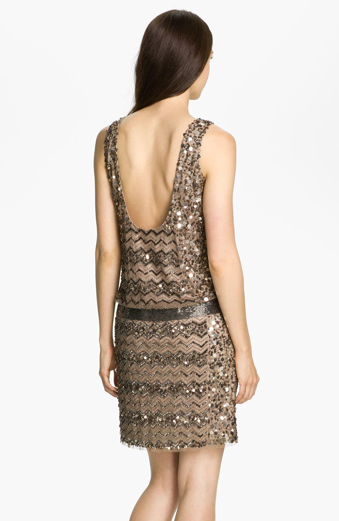 Alternate Image 2  - Adrianna Papell Embellished Zigzag Mesh Dress