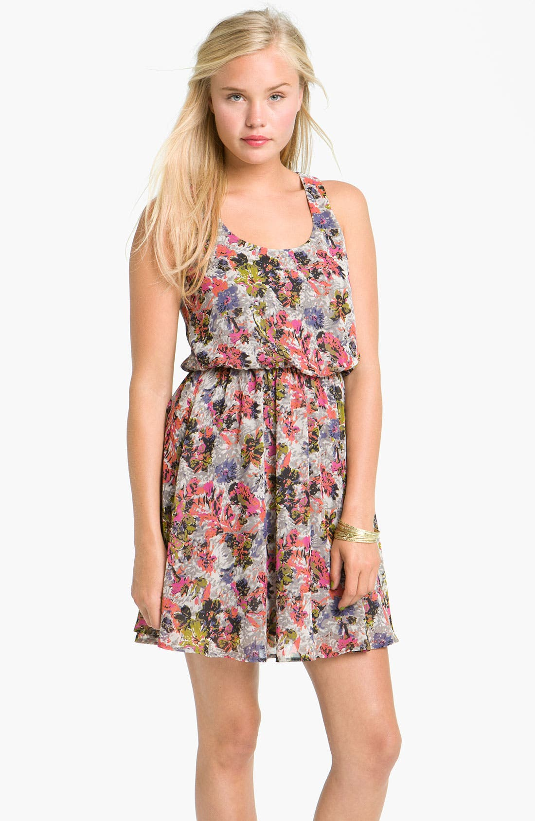 Alternate Image 1 Selected - Lush 'Drew' Blouson Tank Dress (Juniors)