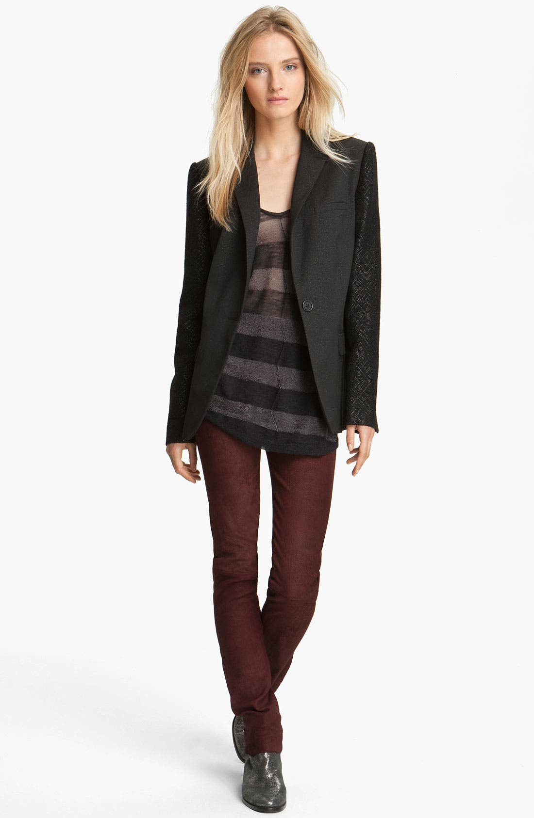 Alternate Image 1 Selected - Zadig & Voltaire 'Vanda' Textured Sleeve Jacket