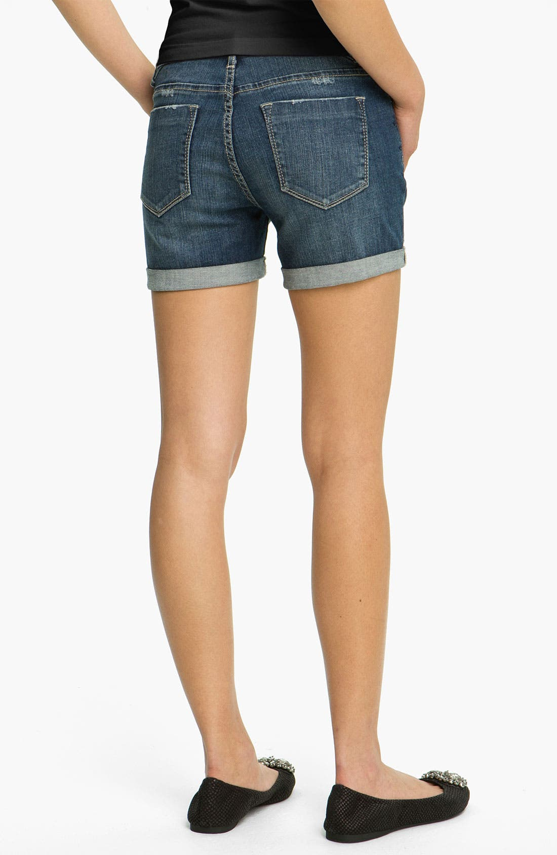 Main Image - Vigoss Cuff Denim Shorts (Juniors)