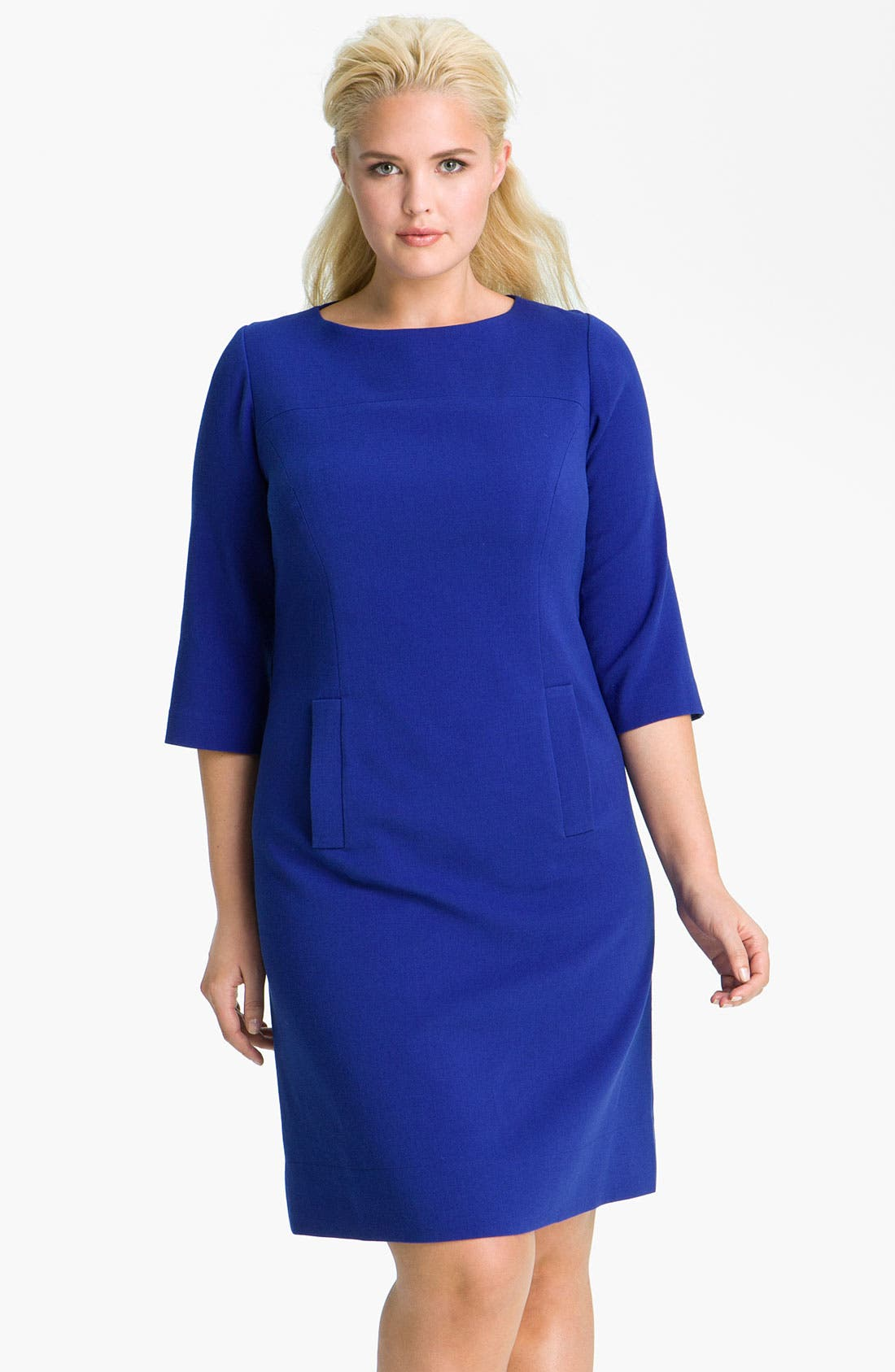 Main Image - Eliza J Ponte Knit Shift Dress (Plus)