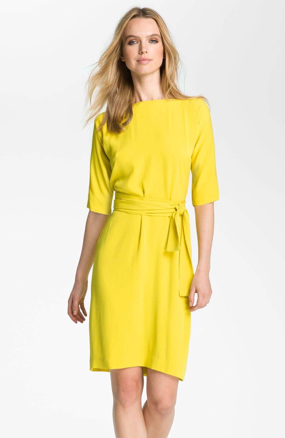 'Shannon' Silk Wrap Dress,                         Main,                         color, Acid Lemon