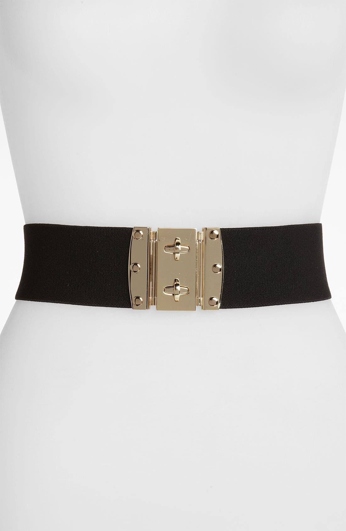 Double Turnlock Elastic Belt,                         Main,                         color, Black