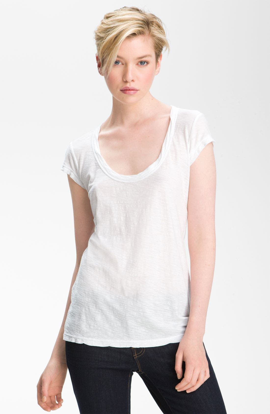 Textured Scoop Neck Tee,                             Main thumbnail 1, color,                             White