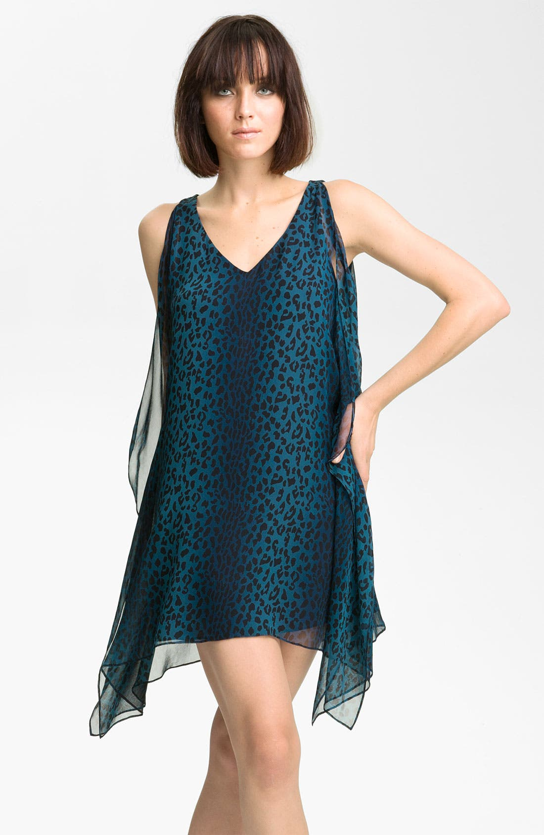 Alternate Image 1 Selected - Jay Godfrey 'Stastny' Leopard Print Chiffon Kimono Dress