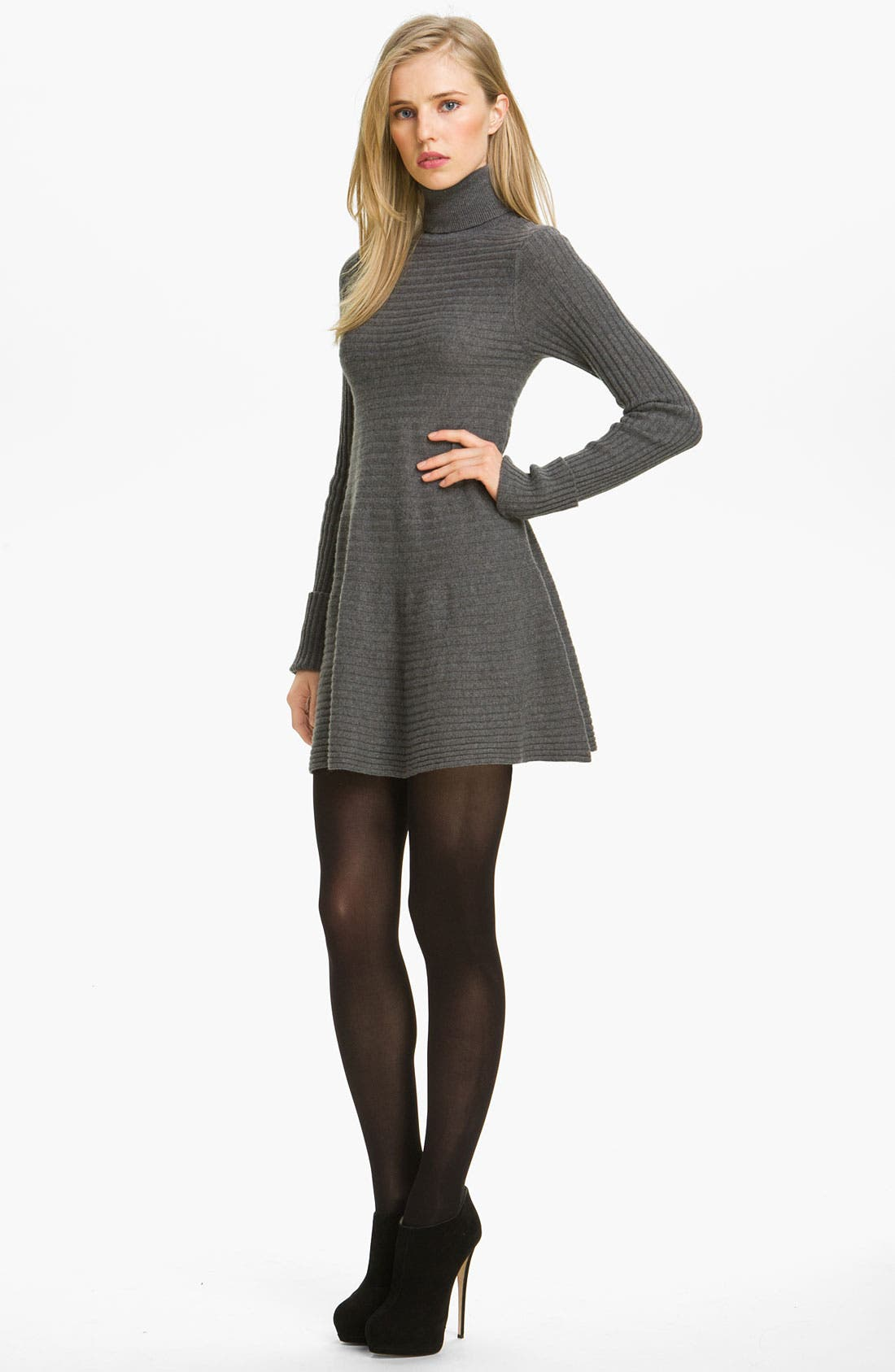 Main Image - autumn cashmere Flared Rib Knit Minidress