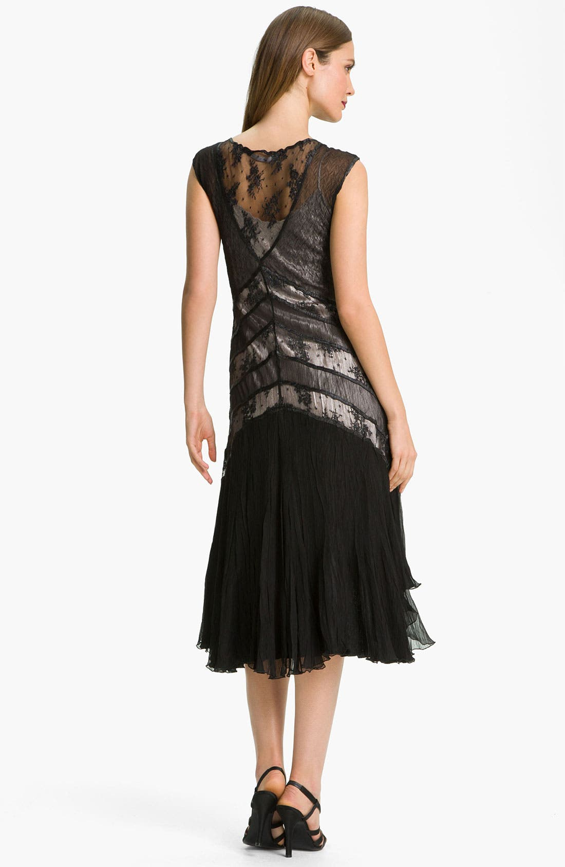 Alternate Image 2  - Black by Komarov Lace Panel High/Low Chiffon Dress