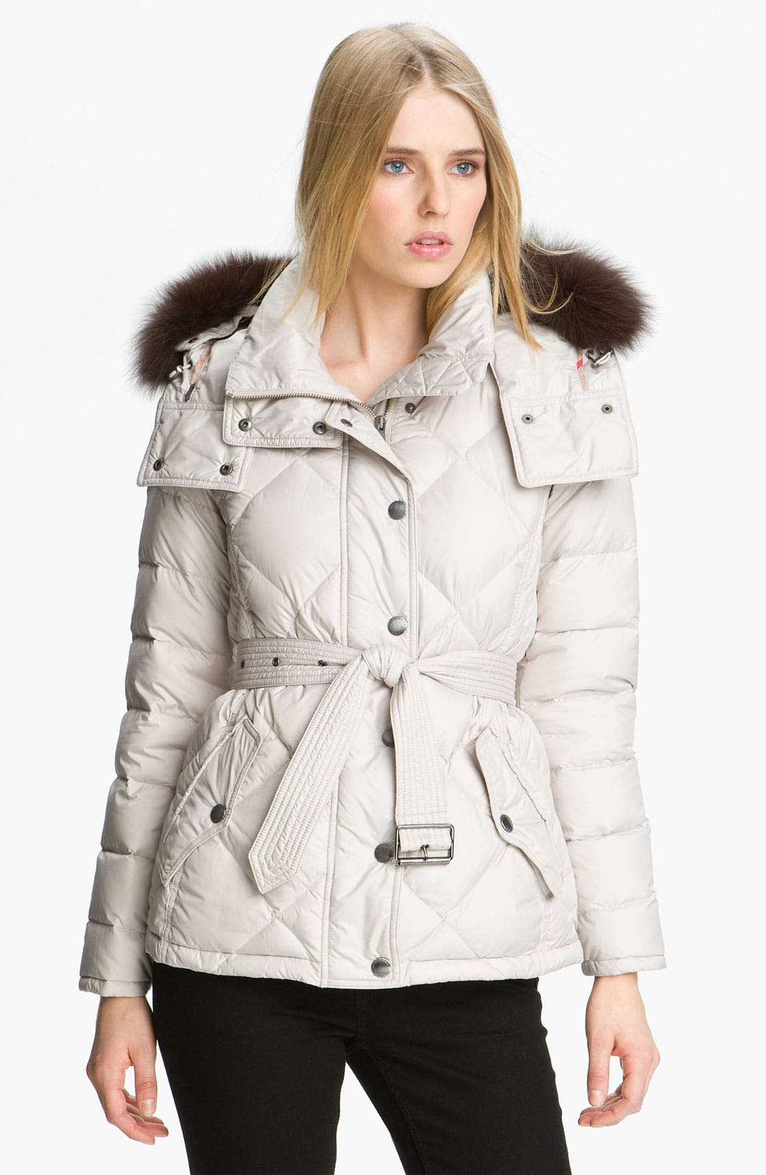 Alternate Image 1 Selected - Burberry Brit Genuine Fox Fur Trim Down Jacket