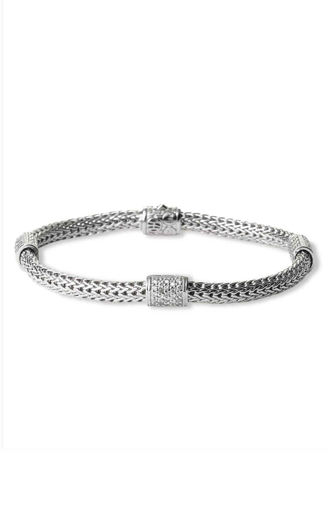 'Classic Chain' Pavé Diamond Station Bracelet,                             Main thumbnail 1, color,