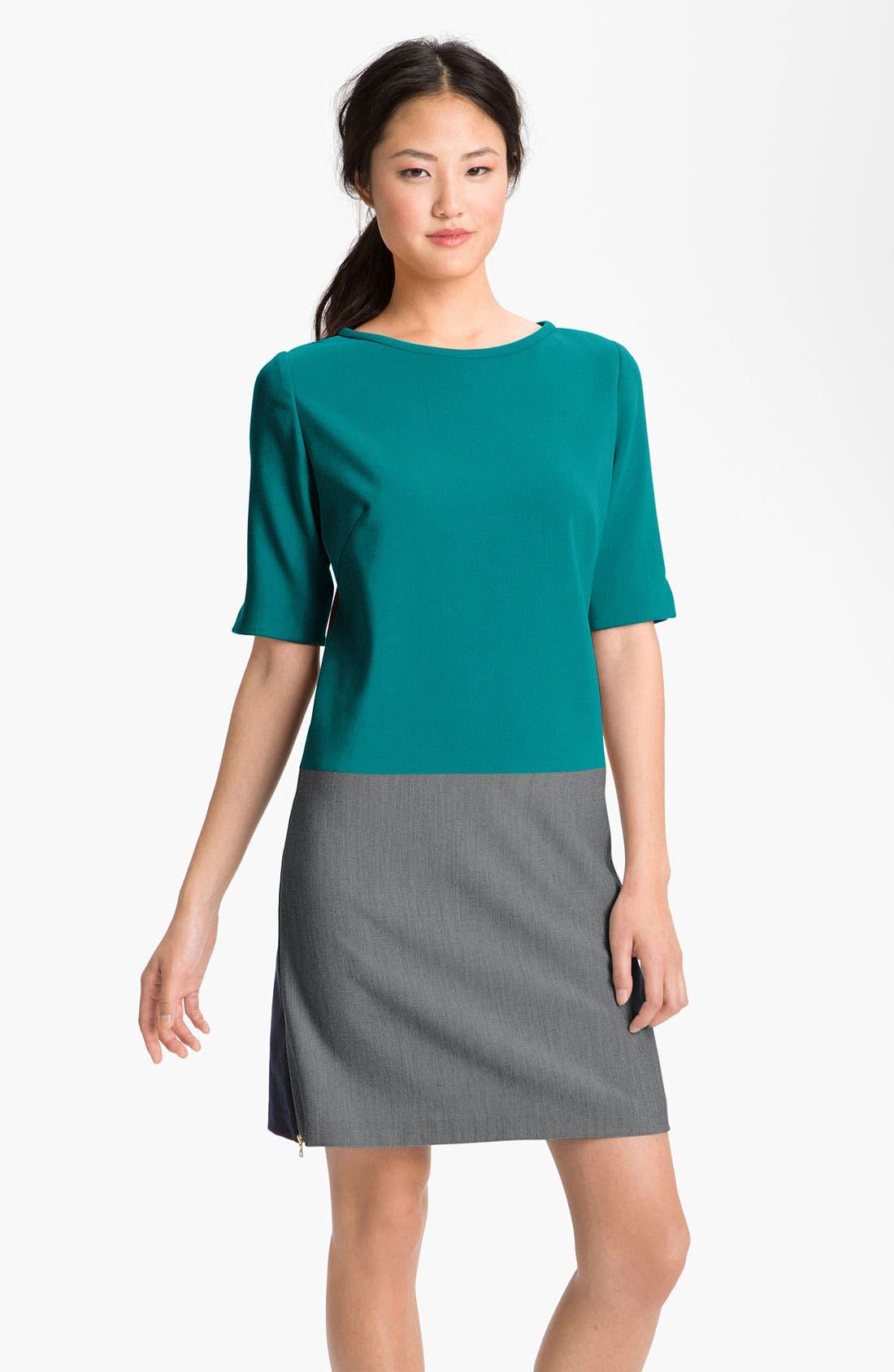 Alternate Image 1 Selected - Eliza J Zip Detail Colorblock Shift Dress