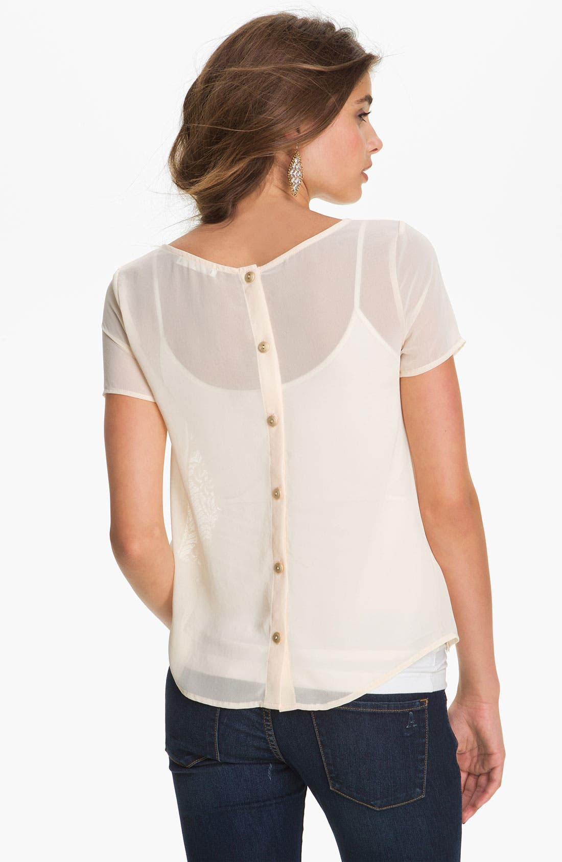 Alternate Image 2  - Lush Button Back Top (Juniors)