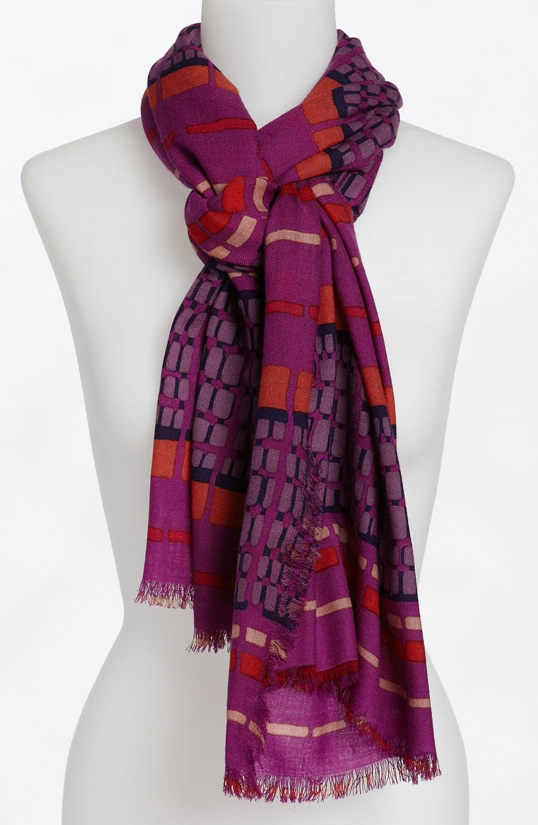 Alternate Image 1 Selected - Halogen® 'Dash Stripe' Wool Challis Scarf