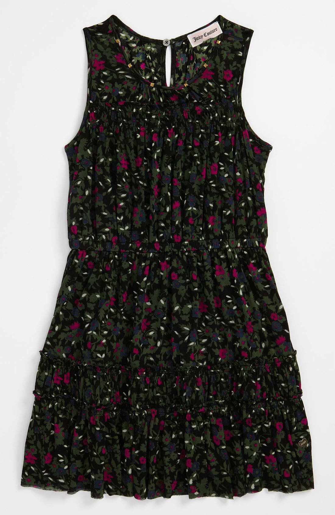 Alternate Image 1 Selected - Juicy Couture 'Clareville' Printed Mesh Dress (Little Girls & Big Girls)
