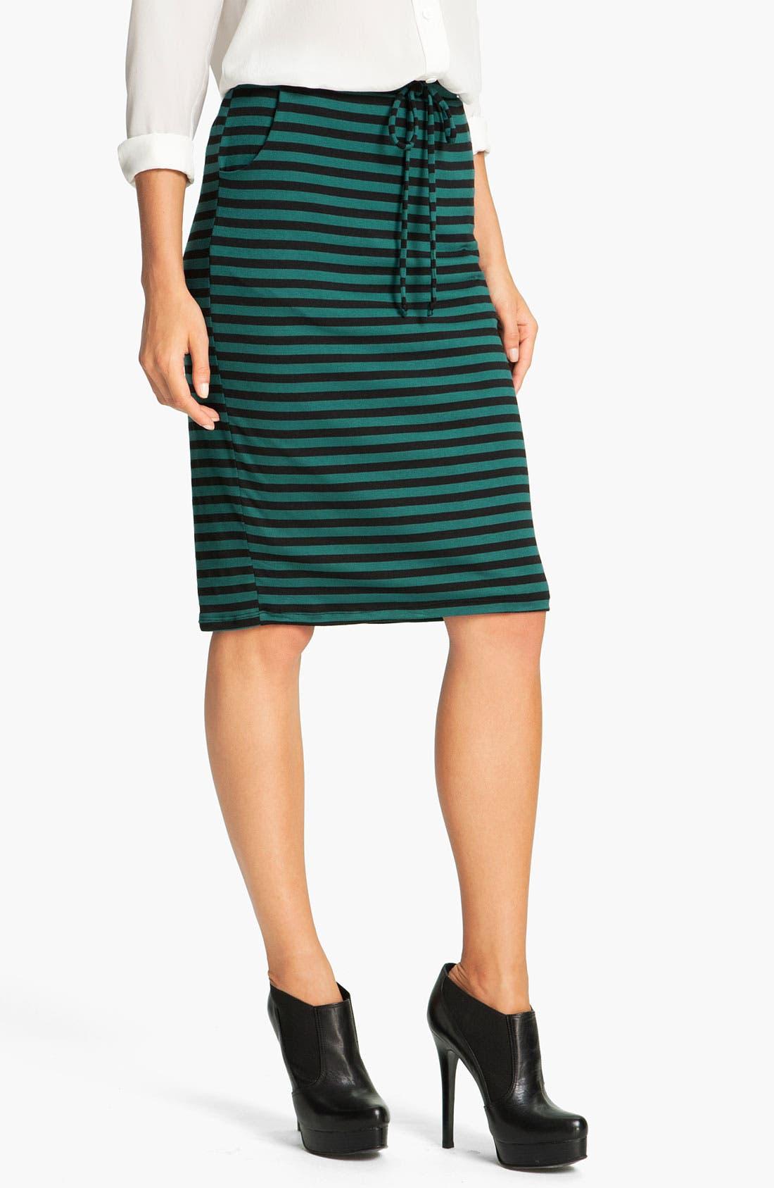 Alternate Image 1 Selected - Bobeau Stripe Drawstring Skirt