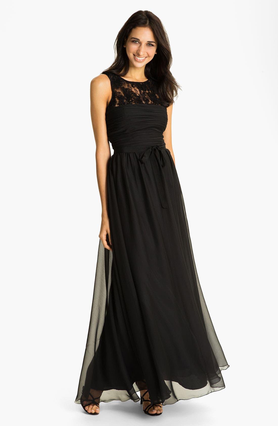 Main Image - ML Monique Lhuillier Bridesmaids Chiffon Gown (Nordstrom Exclusive)