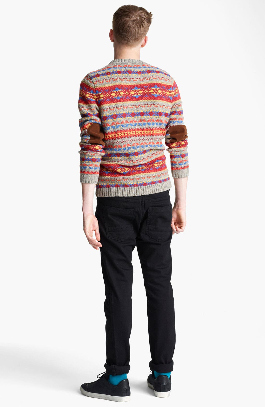Alternate Image 5  - Topman Fair Isle Crewneck Sweater with Elbow Patches