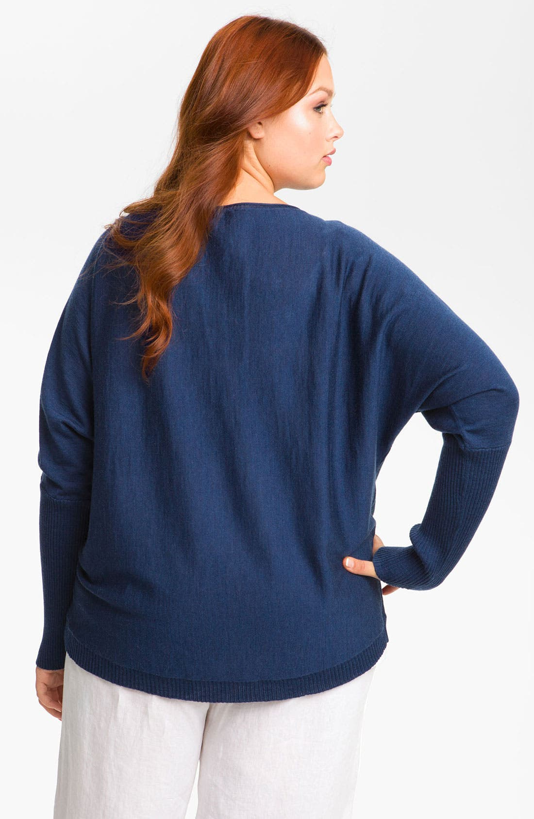 Alternate Image 2  - Eileen Fisher Rib Trim Merino Wool Top (Plus)