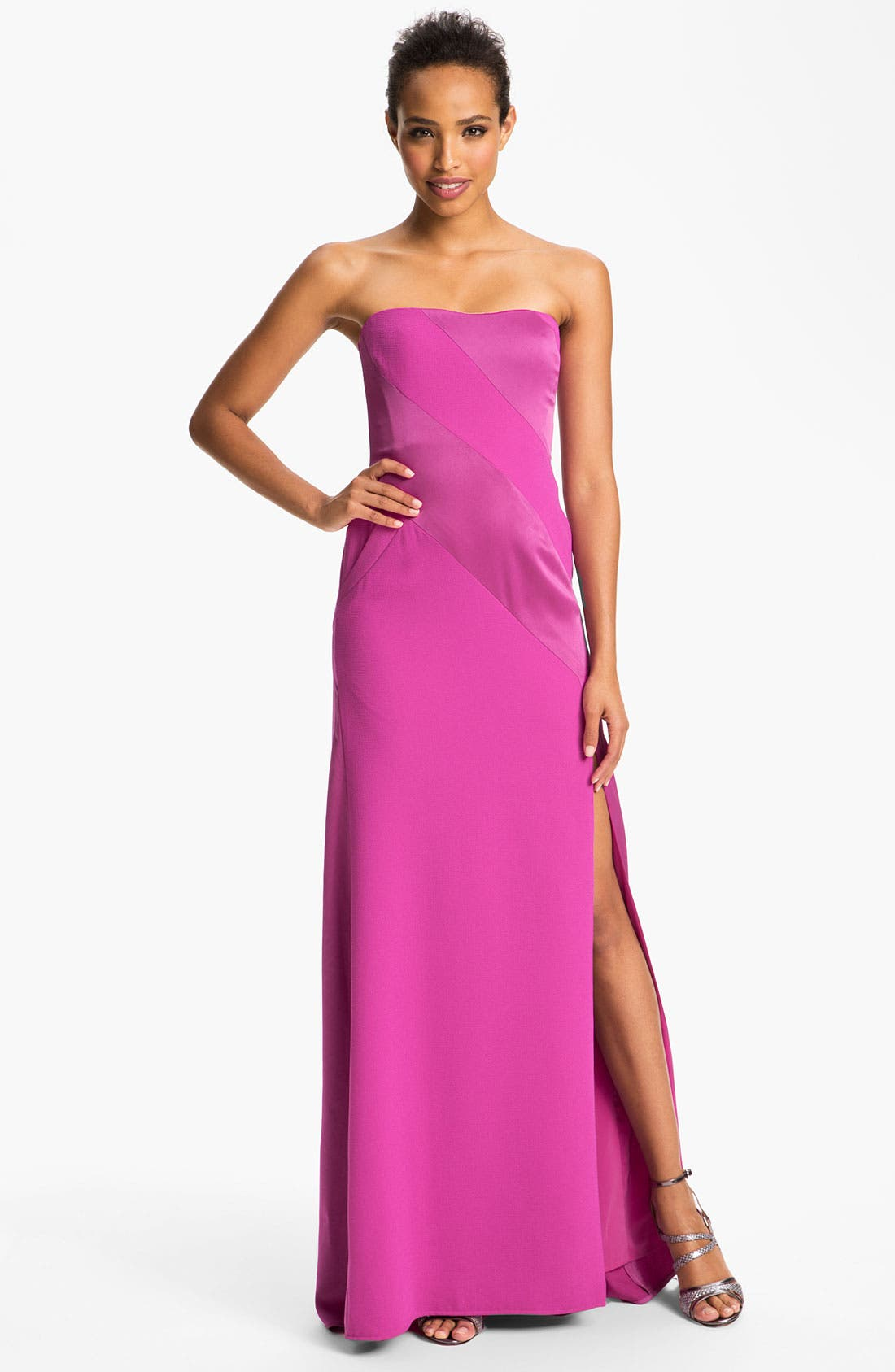 Alternate Image 1 Selected - BCBGMAXAZRIA Strapless Satin Inset Crepe Gown