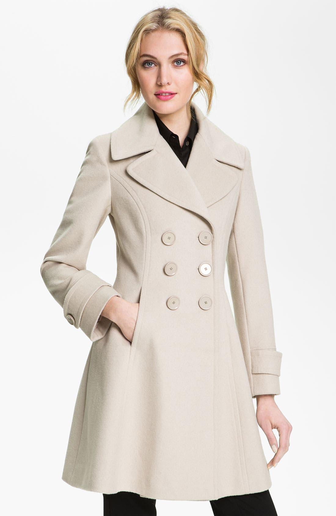 Alternate Image 1 Selected - T Tahari 'Darla' Wool Blend Fit & Flare Coat (Online Only)