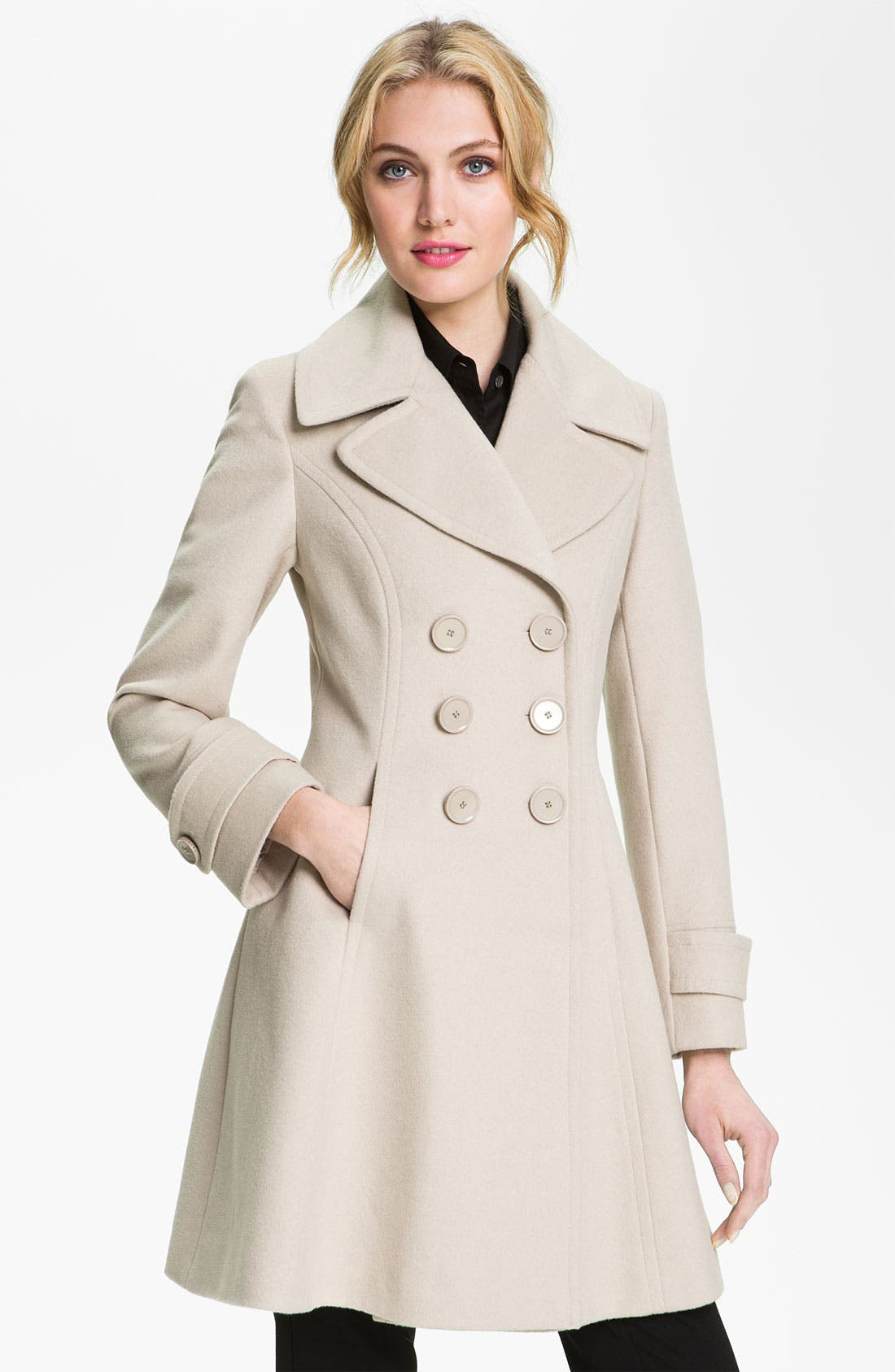 Main Image - T Tahari 'Darla' Wool Blend Fit & Flare Coat (Online Only)