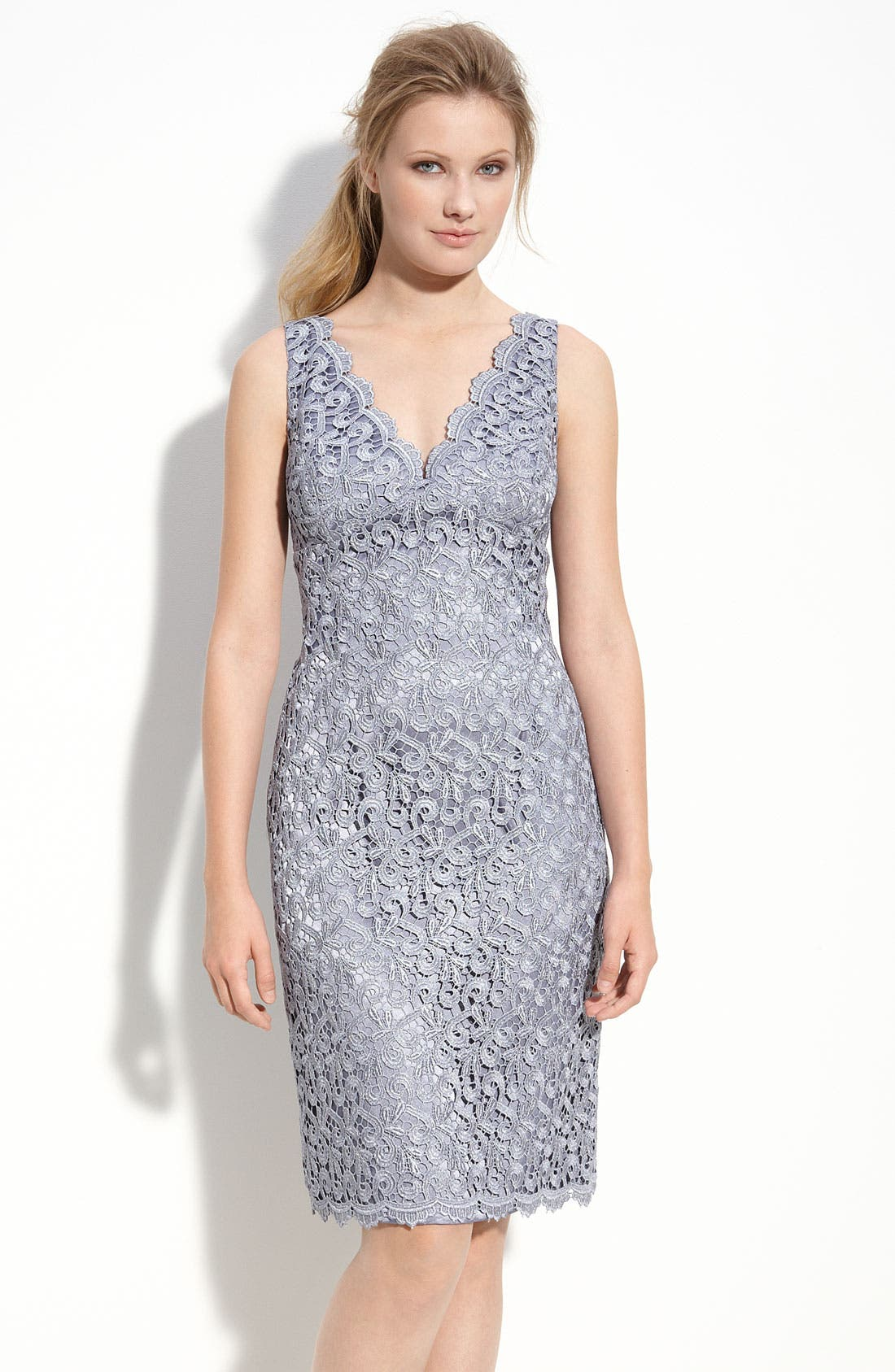 Alternate Image 1 Selected - Adrianna Papell Lace Sheath Dress (Petite)