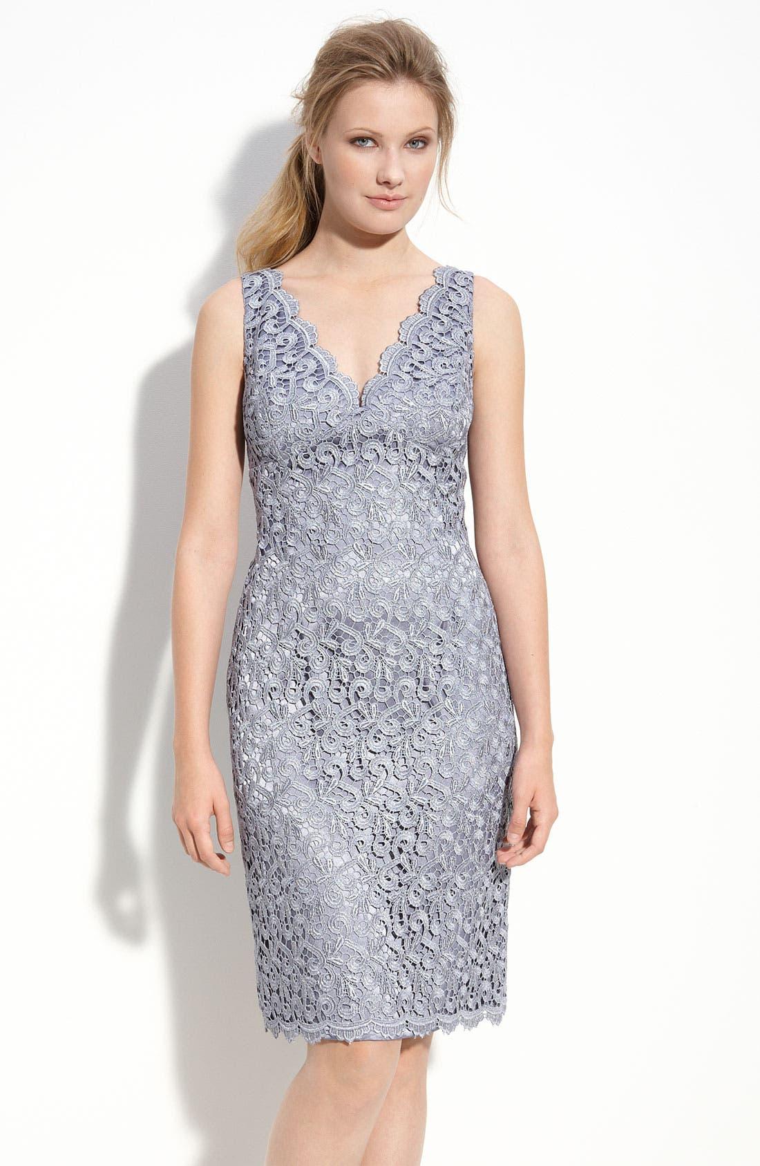 Main Image - Adrianna Papell Lace Sheath Dress (Petite)