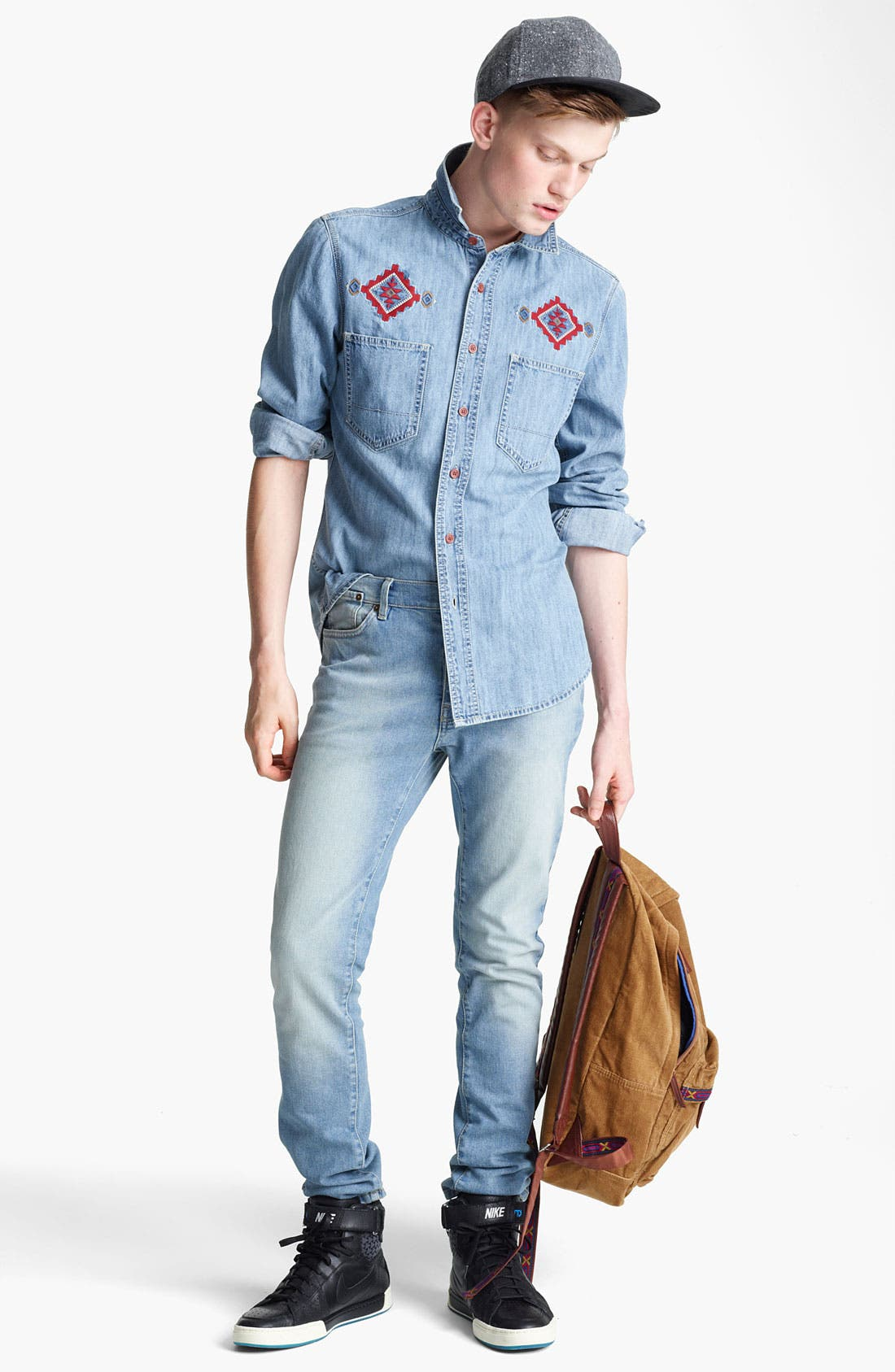 Alternate Image 4  - Topman Embroidered Denim Shirt