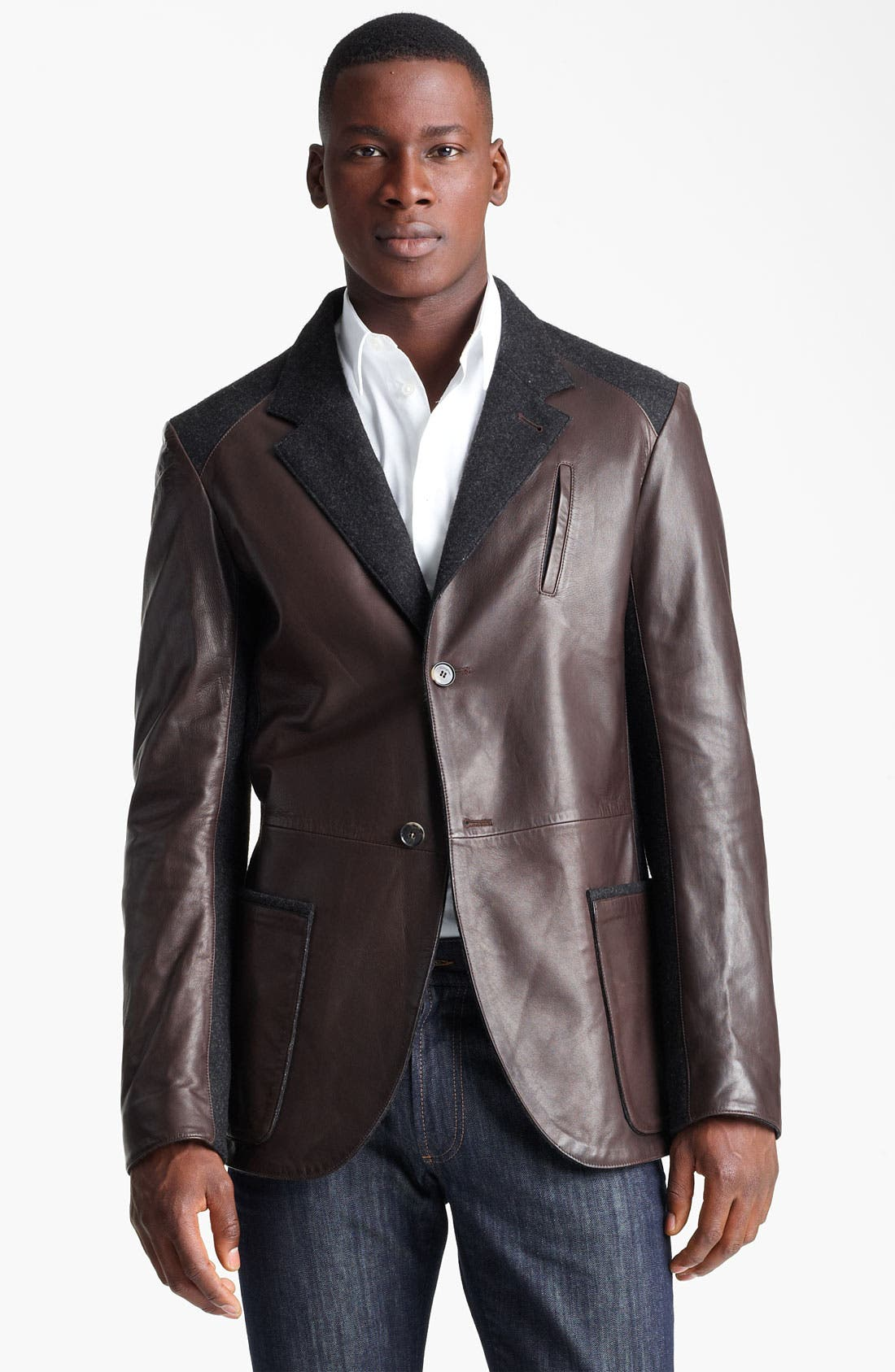 Main Image - Salvatore Ferragamo Cotton Trim Leather Jacket