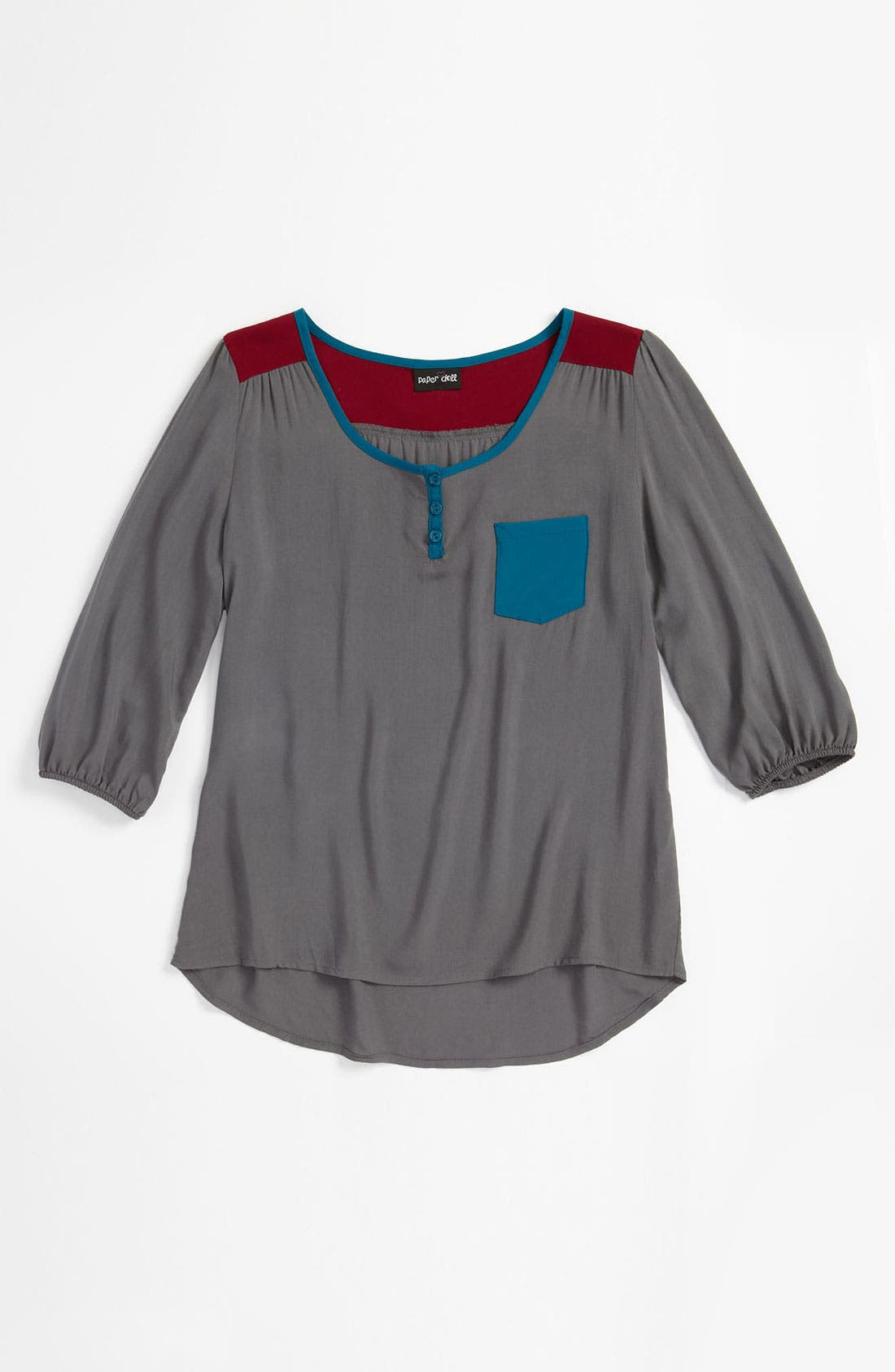 Alternate Image 1 Selected - Paper Doll Colorblock Top (Big Girls)