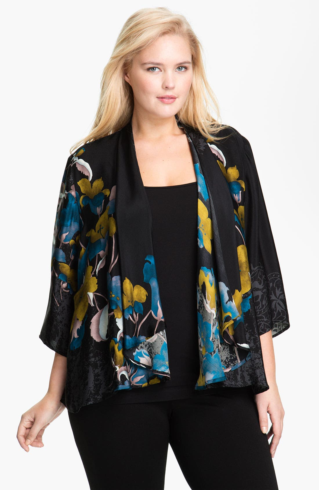 Main Image - Citron Sheer Silk Drape Front Jacket (Plus)